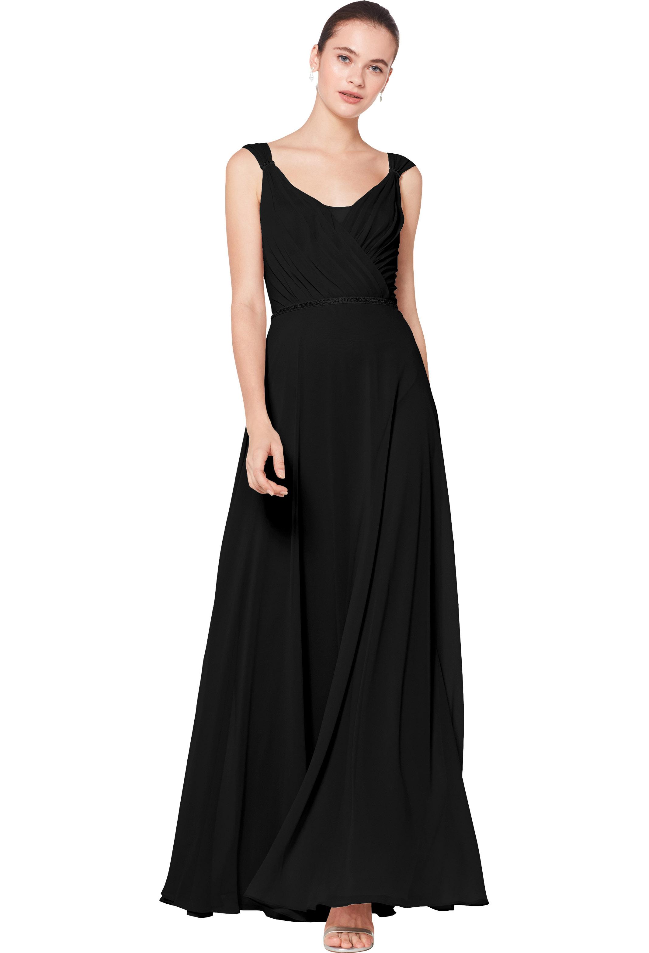 Bill Levkoff BLACK Chiffon Sleeveless A-line gown, $230.00 Front