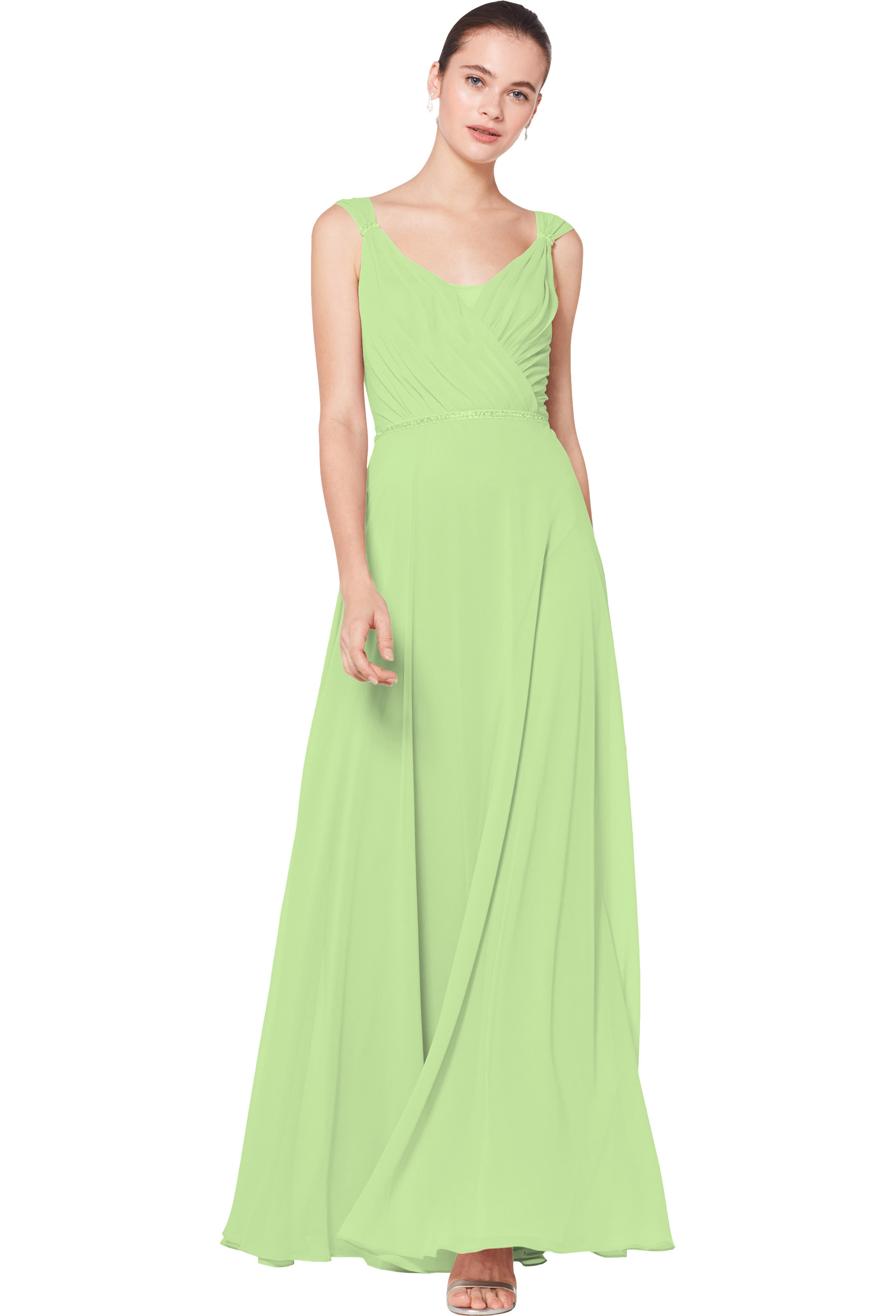 Bill Levkoff PISTACHIO Chiffon Sleeveless A-line gown, $230.00 Front