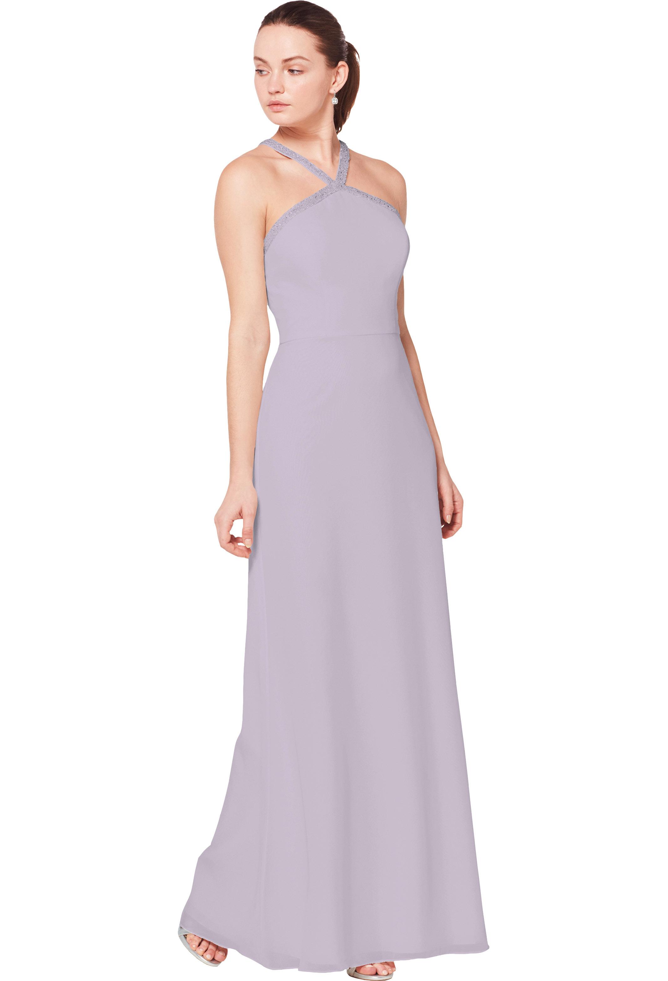 Bill Levkoff VIOLET Chiffon Halter A-line gown, $220.00 Front