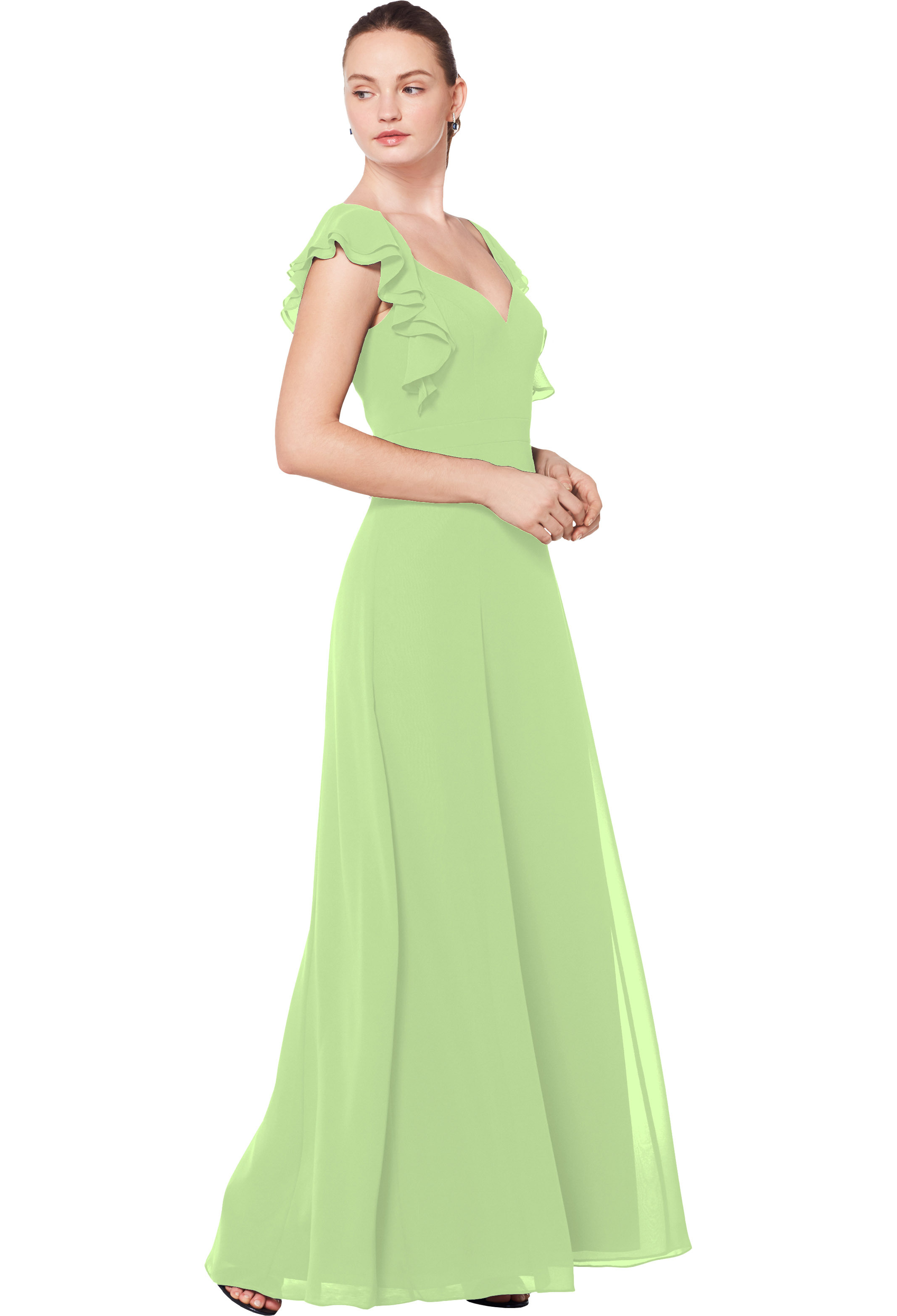 Bill Levkoff PISTACHIO Chiffon Sweetheart A-line gown, $210.00 Front