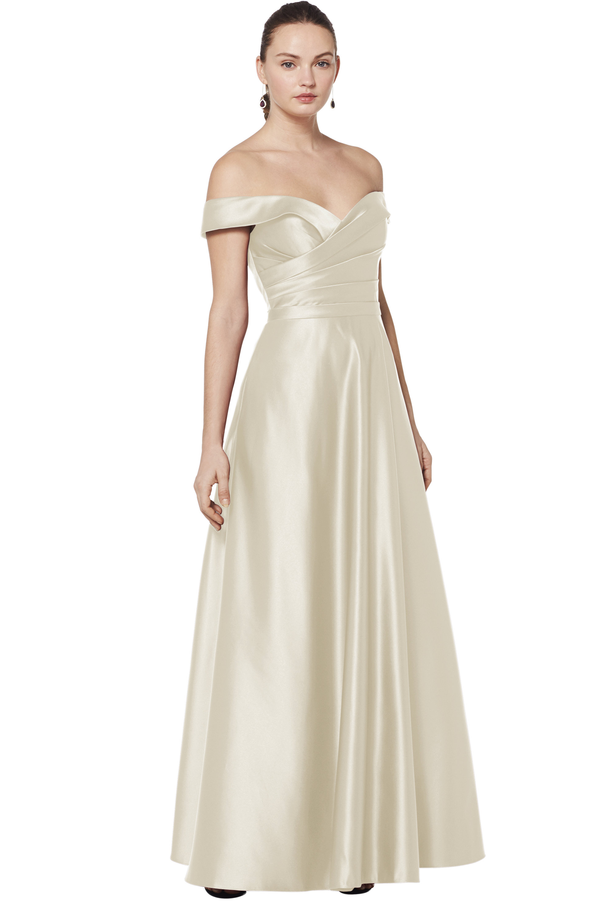 Bill Levkoff EURO CHAMPAGNE European Satin Sweetheart A-line gown, $210.00 Front