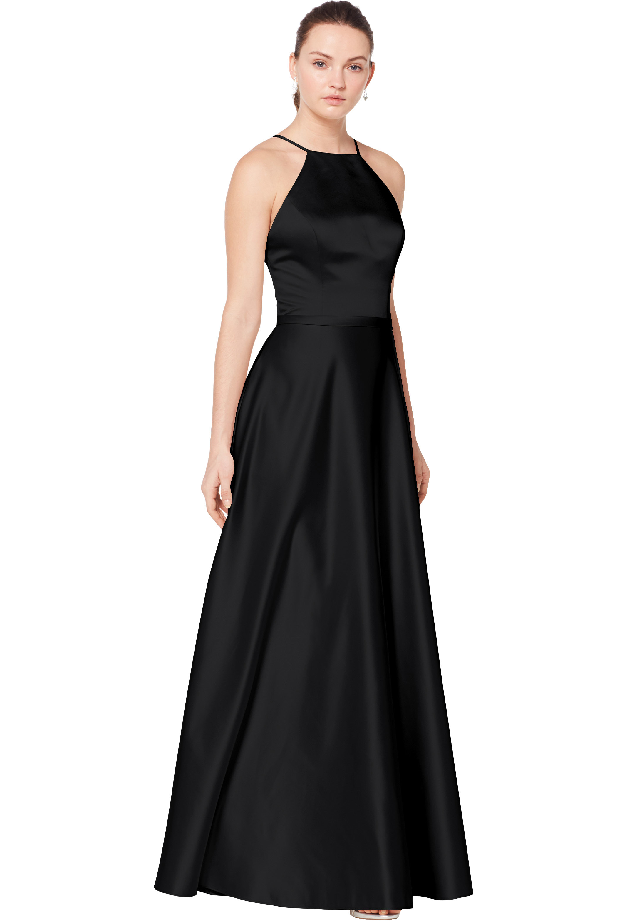 Bill Levkoff EURO BLACK European Satin Square A-line gown, $200.00 Front