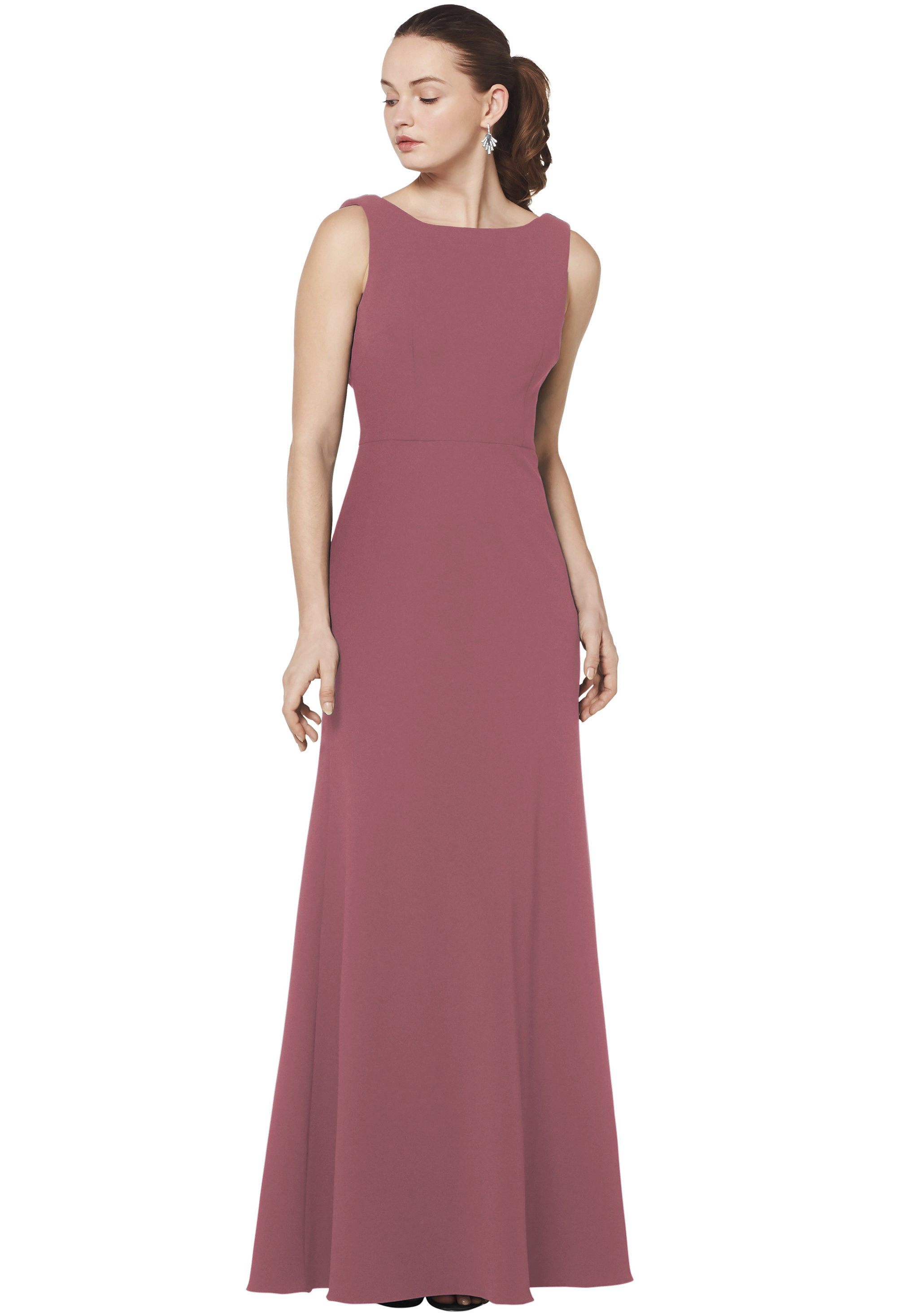 Bill Levkoff ROSEWOOD Stretch Crepe Bateau Neckline A-line gown, $230.00 Front