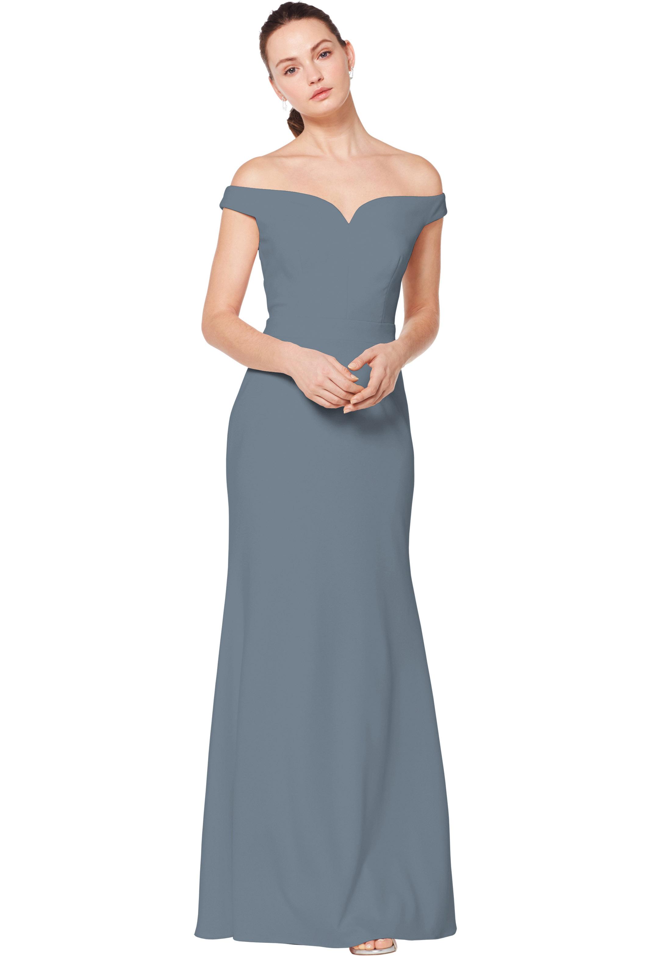 Bill Levkoff SLATE Stretch Crepe Off The Shoulder Natural Waist gown, $220.00 Front