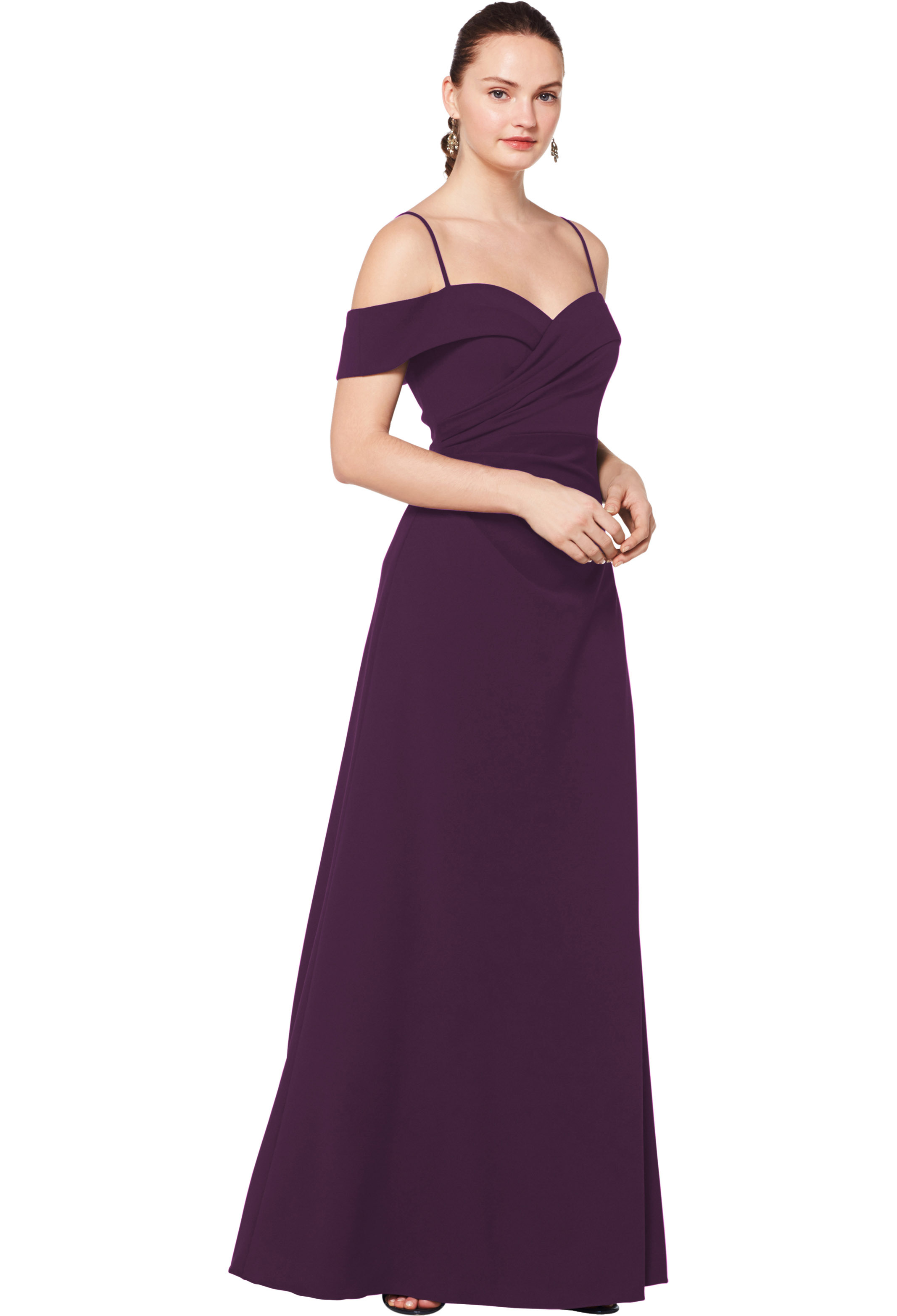 Bill Levkoff PLUM Stretch Crepe Off The Shoulder A-line gown, $230.00 Front