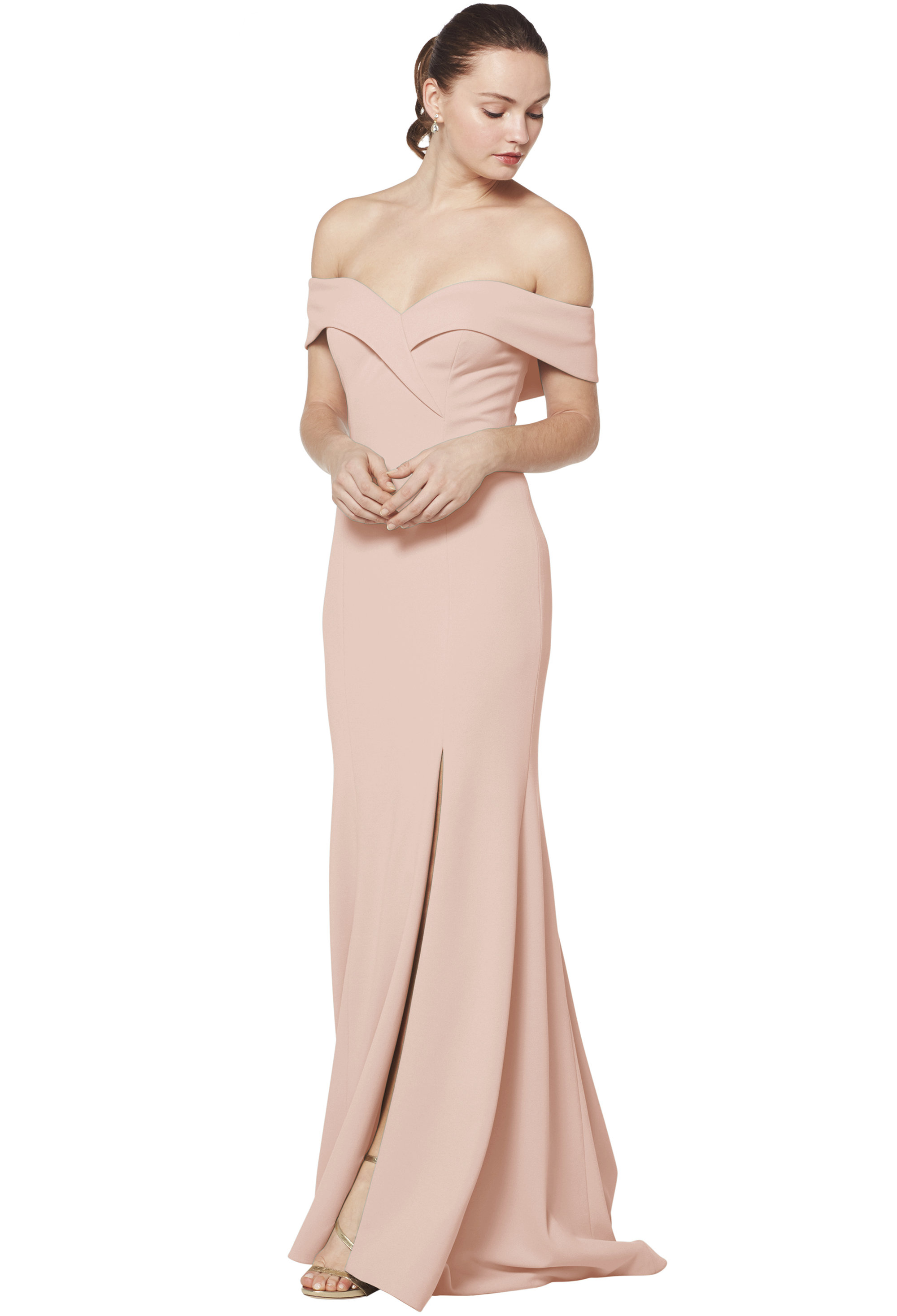 Bill Levkoff NUDE Stretch Crepe Off The Shoulder A-line gown, $230.00 Front