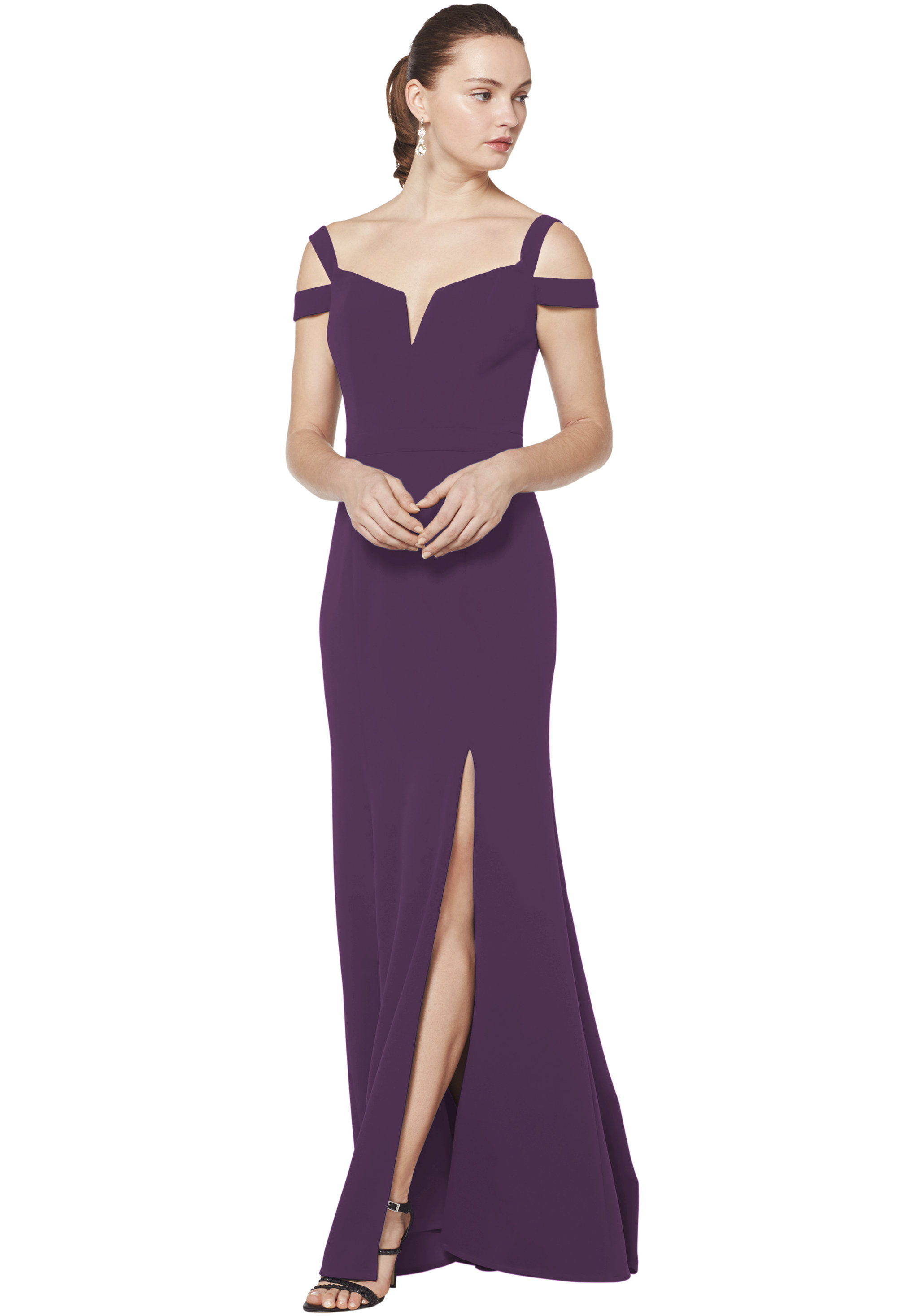 Bill Levkoff PURPLE Stretch Crepe Off The Shoulder A-line gown, $230.00 Front