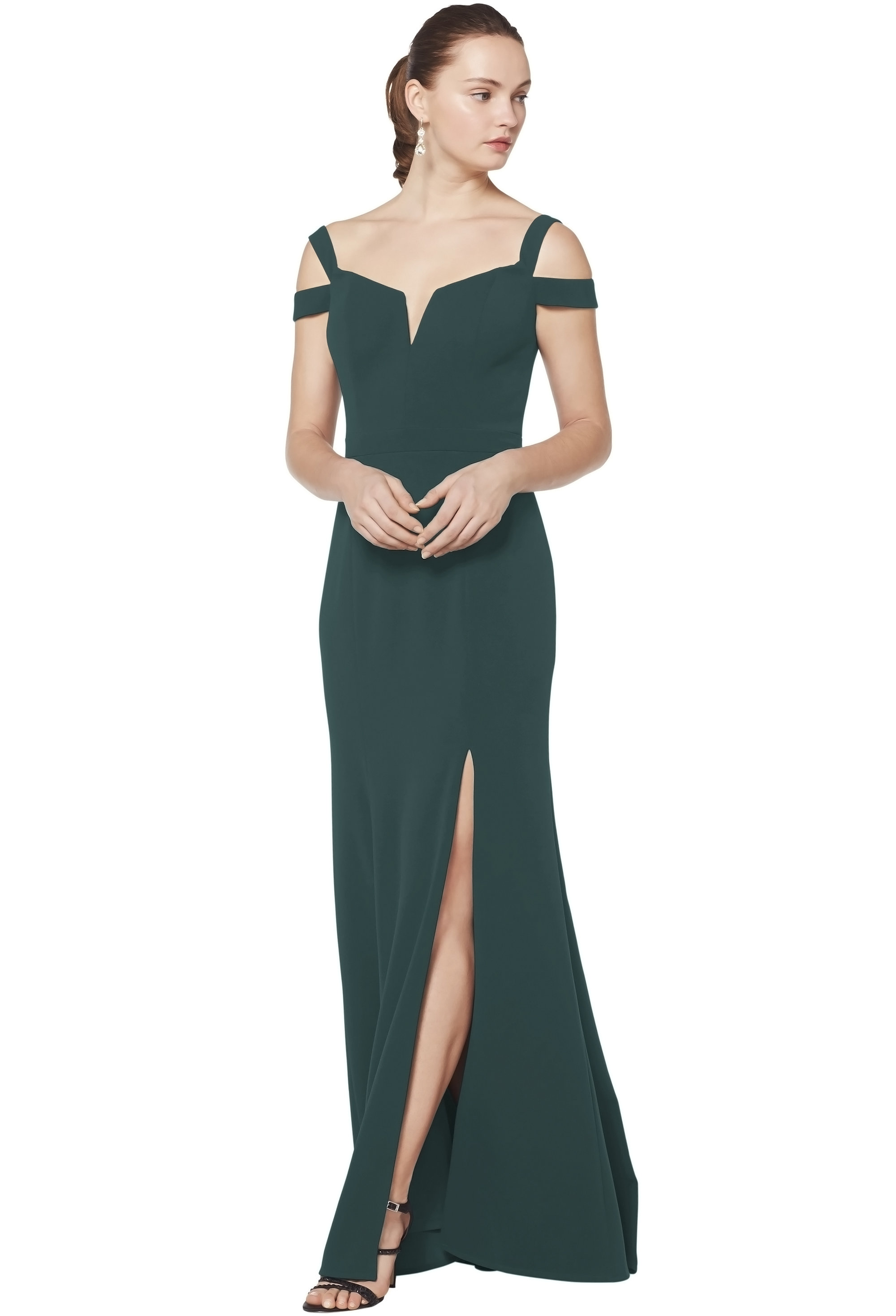 Bill Levkoff EVERGREEN Stretch Crepe Off The Shoulder A-line gown, $230.00 Front