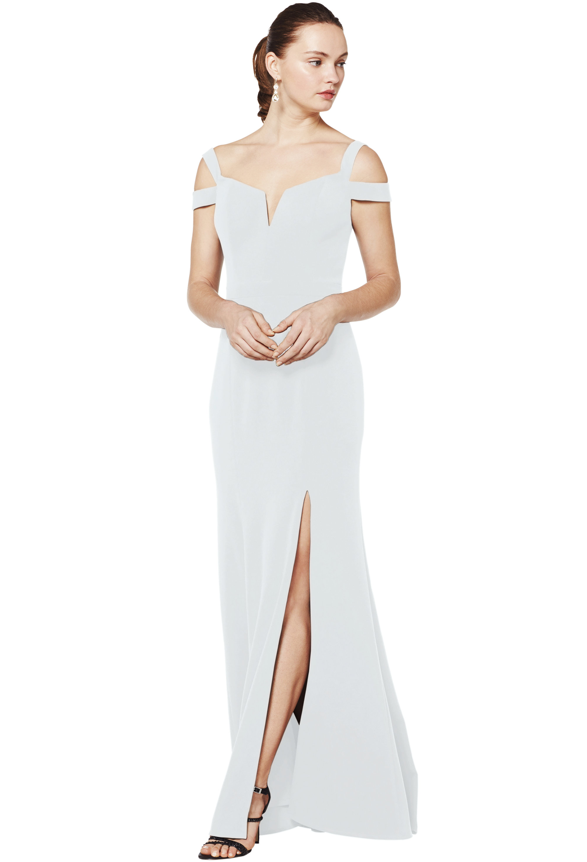 Bill Levkoff PALE BLUE Stretch Crepe Off The Shoulder A-line gown, $230.00 Front