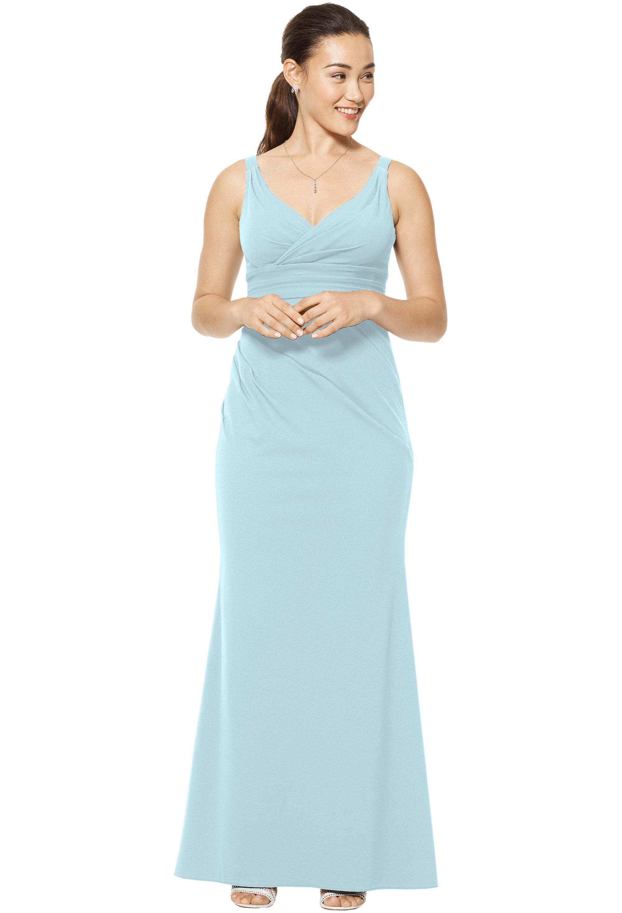 Bill Levkoff PALE BLUE Stretch Crepe Sleeveless Mermaid Skirt gown, $220.00 Front
