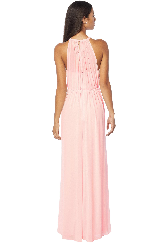 Bill Levkoff DESERT GREY Chiffon Halter A-line gown, $210.00 Back