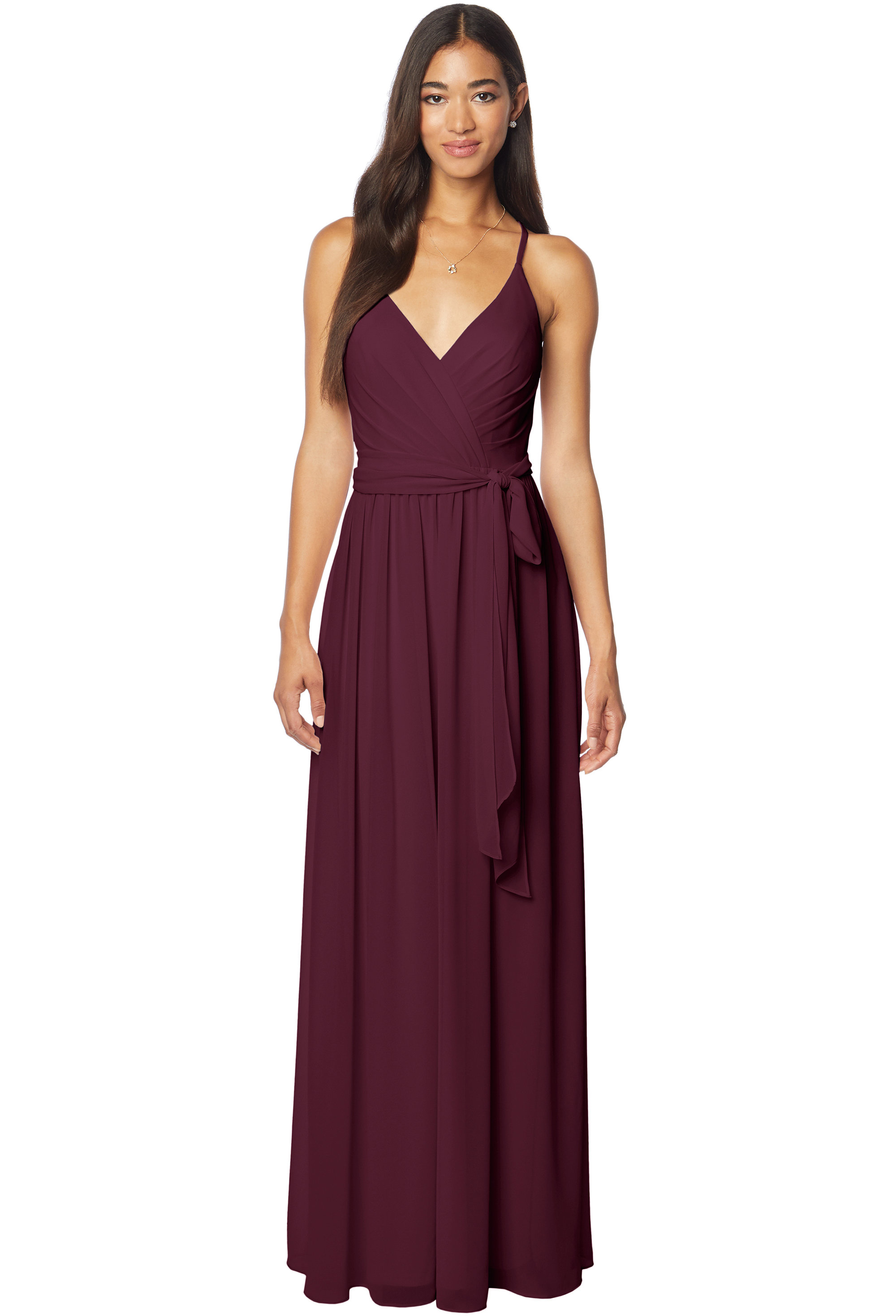 Bill Levkoff WINE Chiffon V-neck A-line gown, $220.00 Front