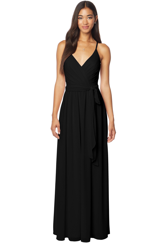 Bill Levkoff BLACK Chiffon V-neck A-line gown, $220.00 Front