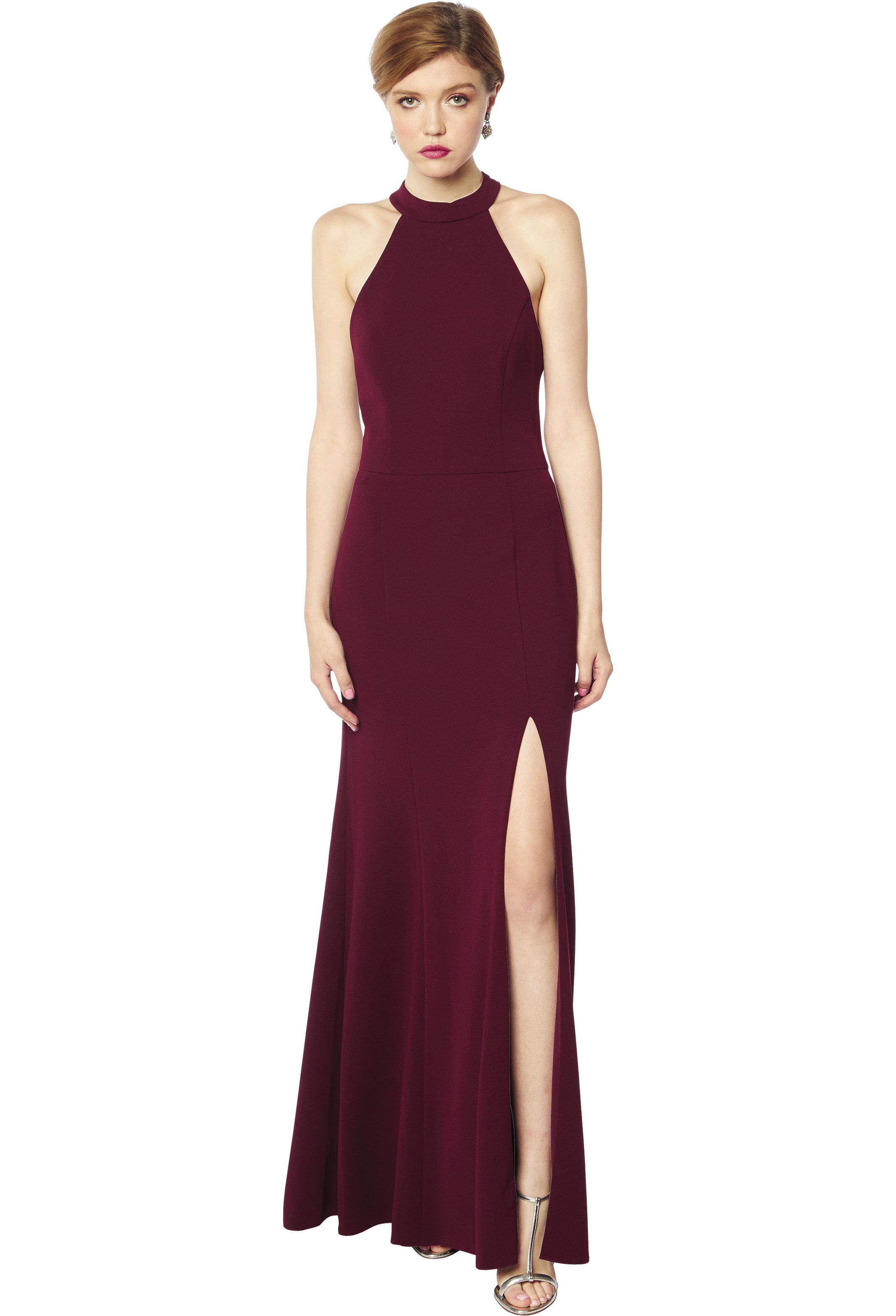 Bill Levkoff WINE Chiffon Halter Natural Waist gown, $230.00 Front