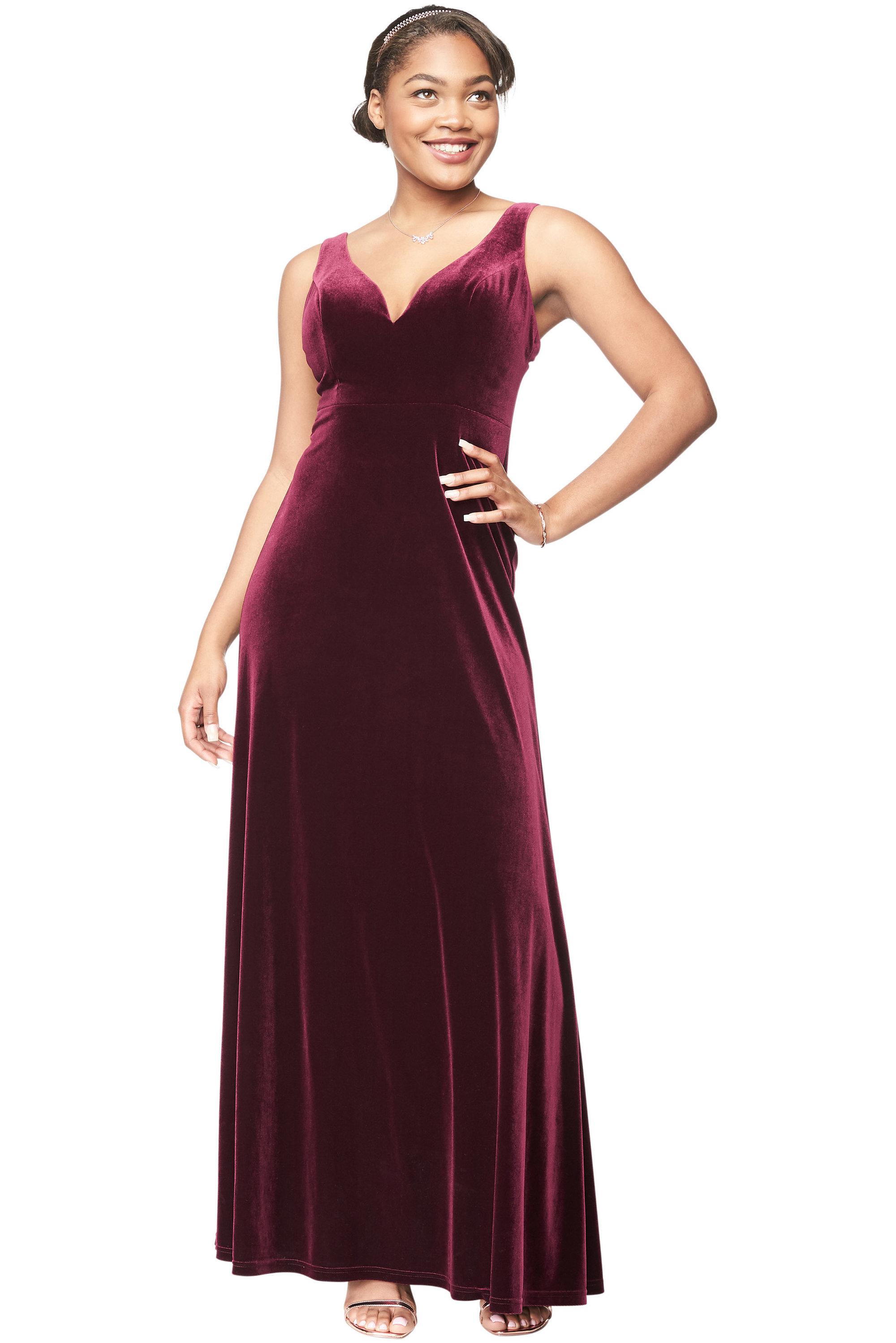 Bill Levkoff WINE Stretch Velvet V-Neck A-Line gown, $230.00 Front