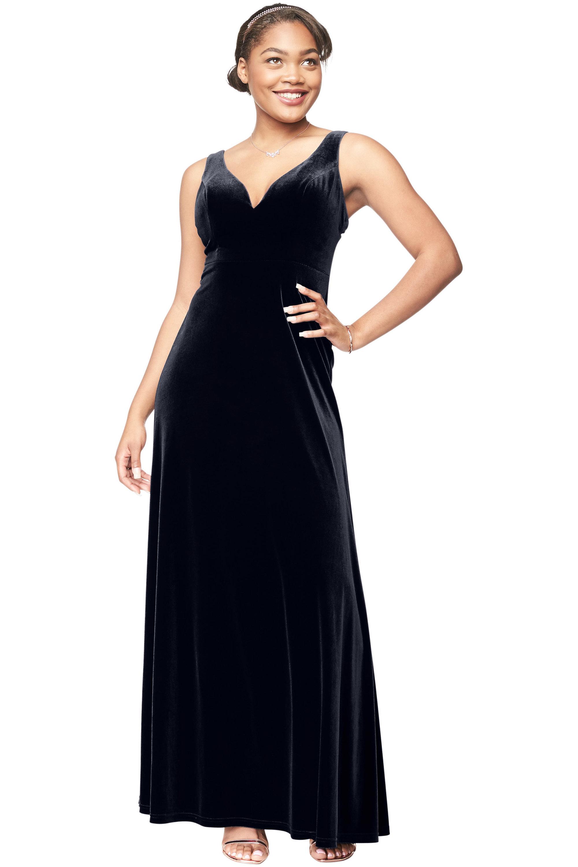 Bill Levkoff MIDNIGHT Stretch Velvet V-Neck A-Line gown, $195.50 Front