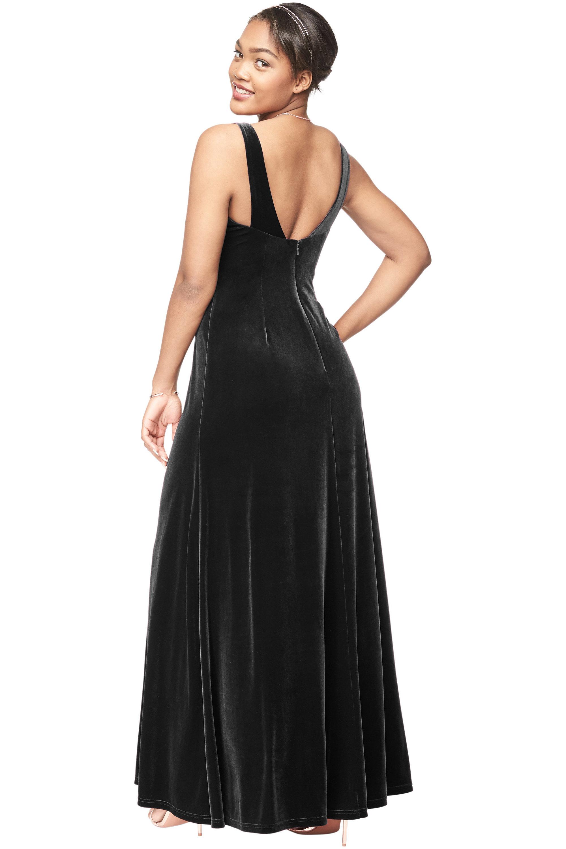 Bill Levkoff BLACK Stretch Velvet V-Neck A-Line gown, $230.00 Back