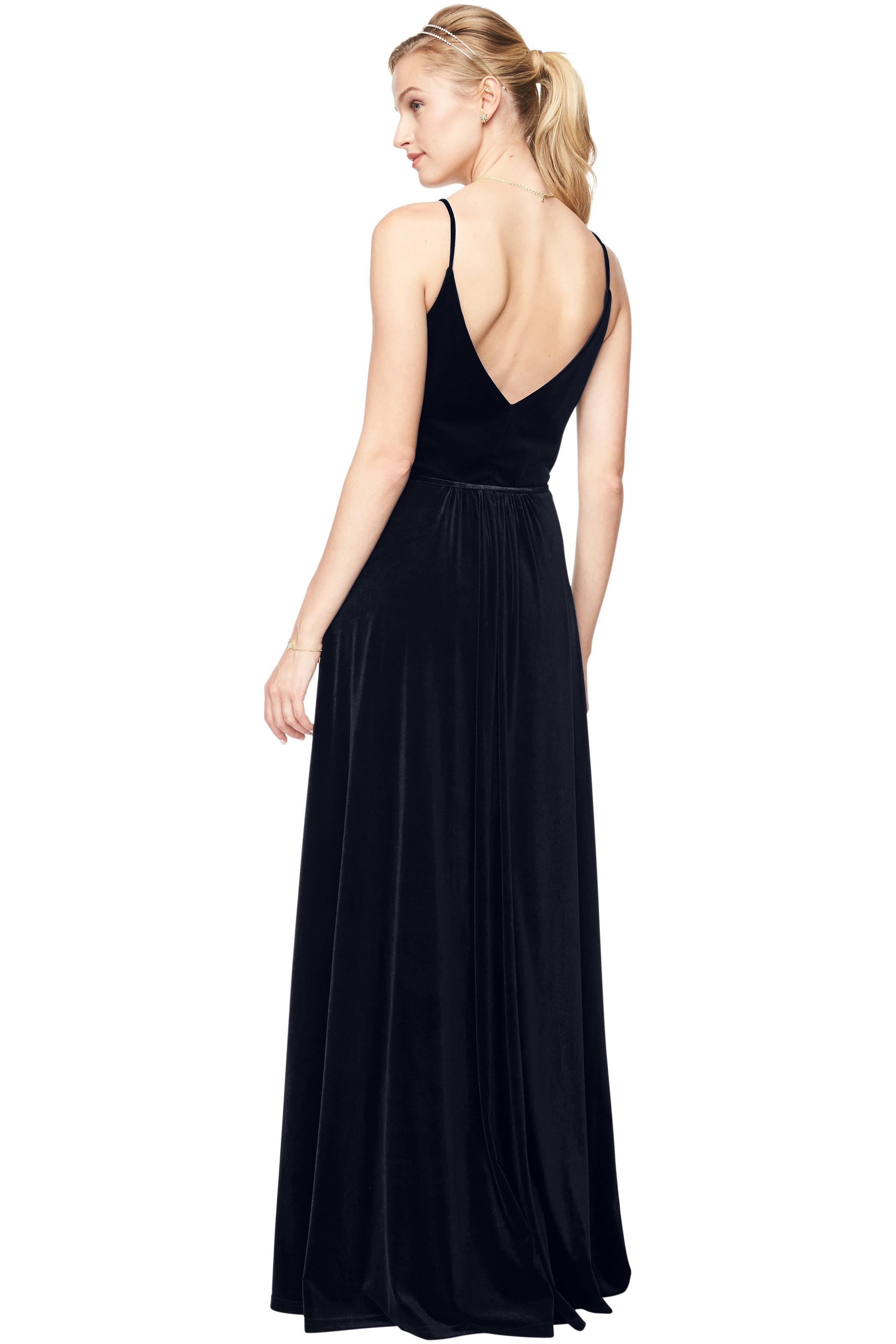 Bill Levkoff MIDNIGHT Stretch Velvet V-Neck A-Line gown, $220.00 Back