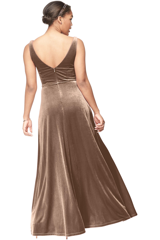 Bill Levkoff CAMEL Stretch Velvet V-Neck A-Line gown, $187.00 Back