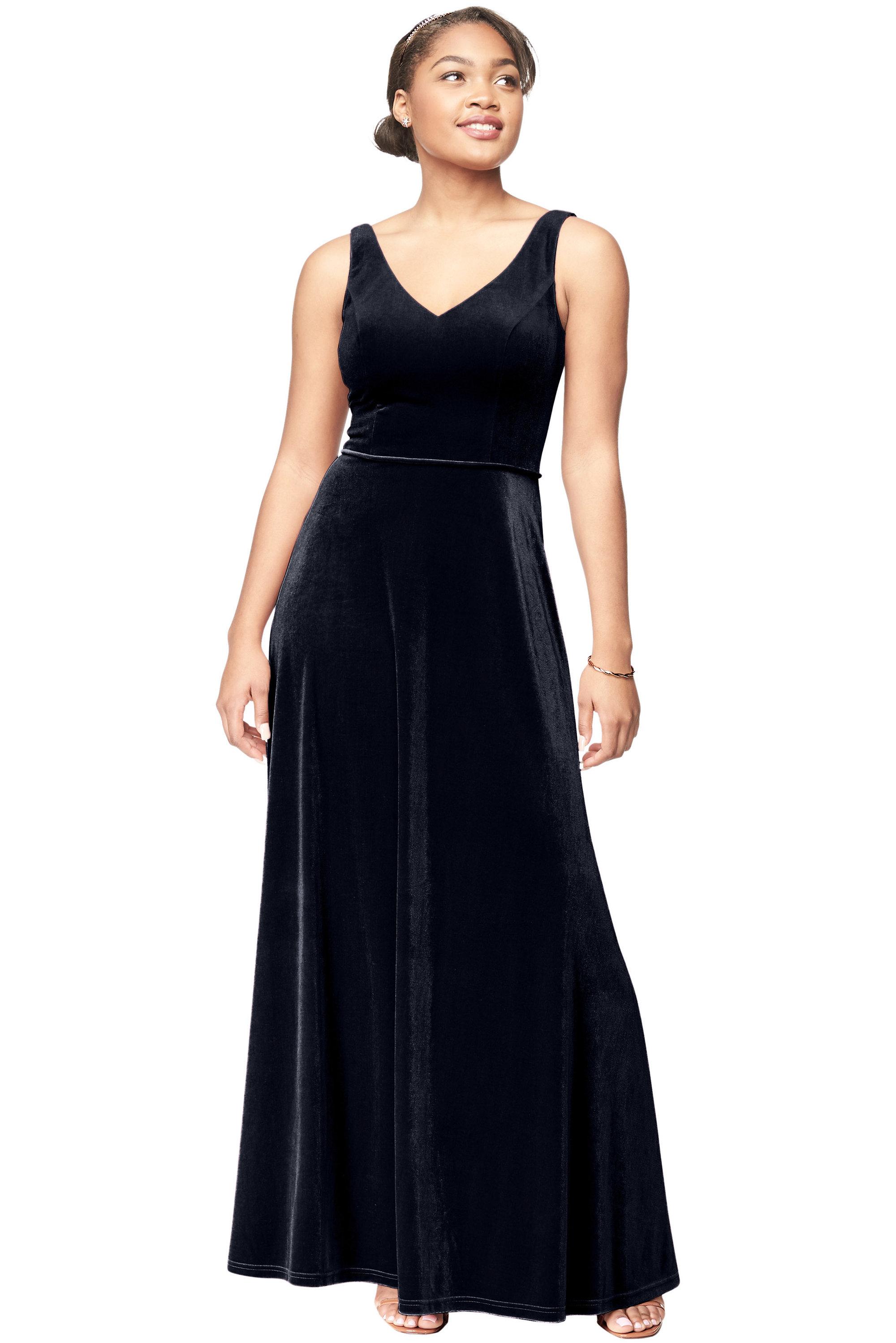 Bill Levkoff MIDNIGHT Stretch Velvet V-Neck A-Line gown, $220.00 Front