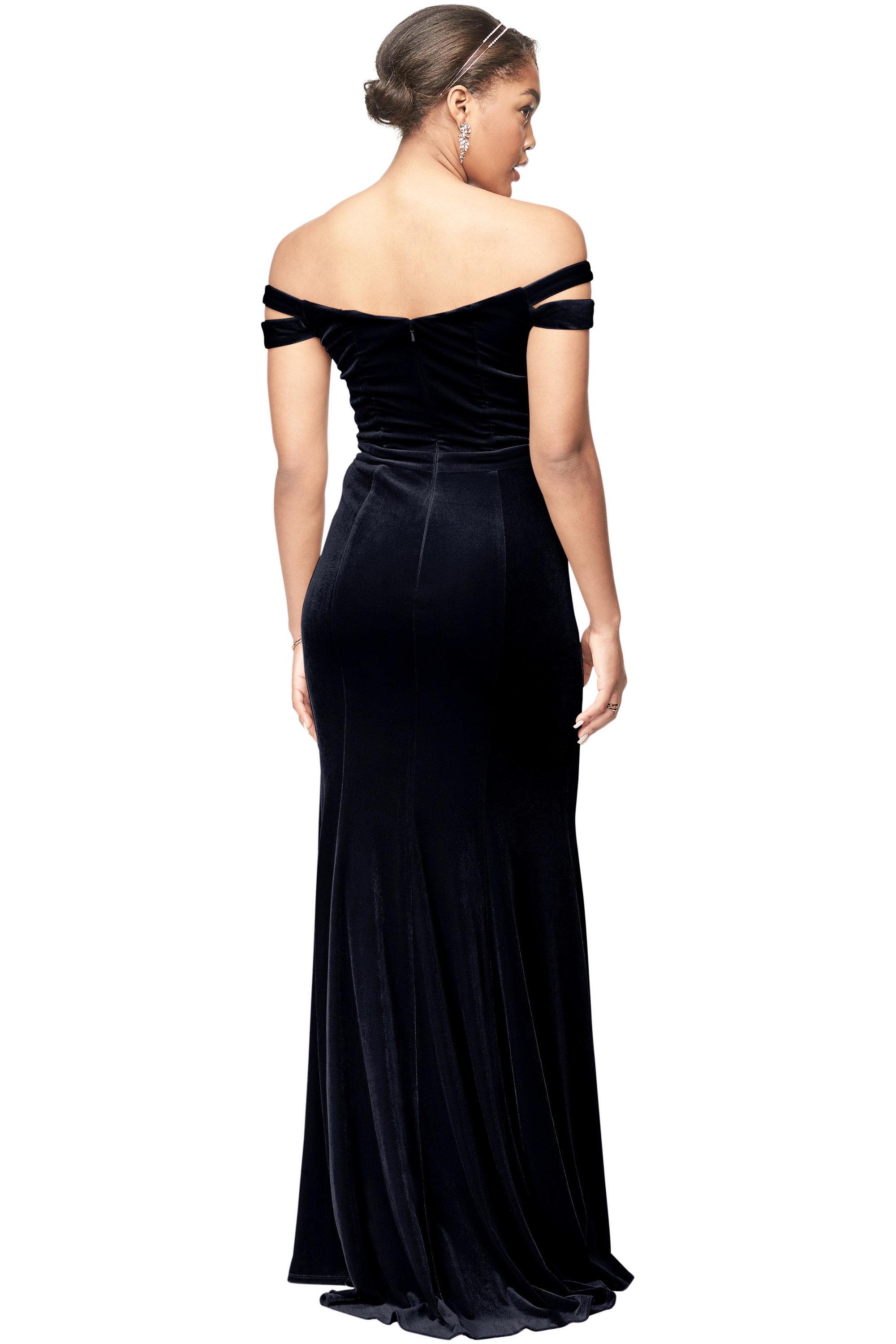 Bill Levkoff MIDNIGHT Stretch Velvet Off The Shoulder A-Line gown, $230.00 Back