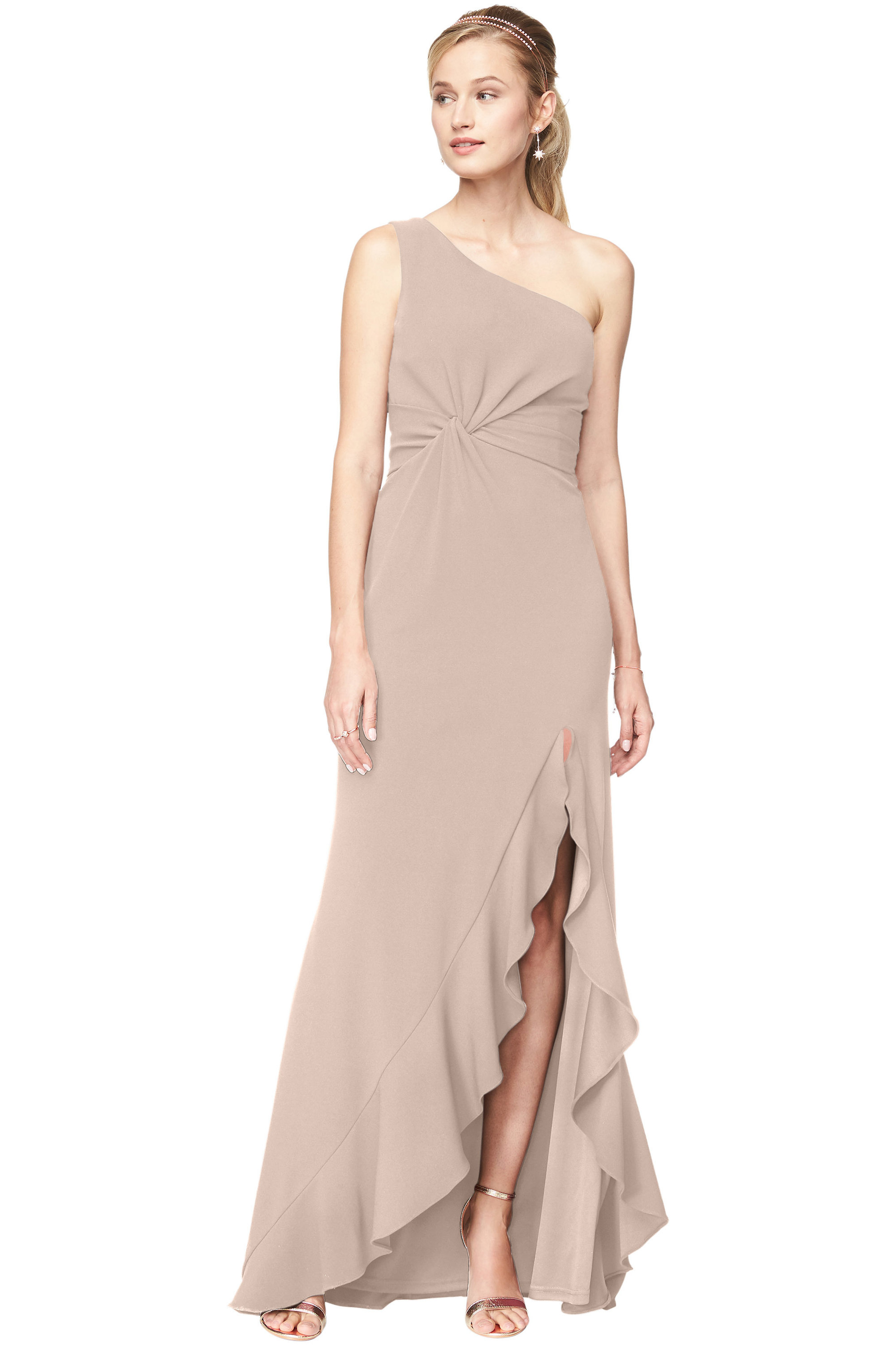 Bill Levkoff NUDE Stretch Crepe One-Shoulder A-Line gown, $240.00 Front