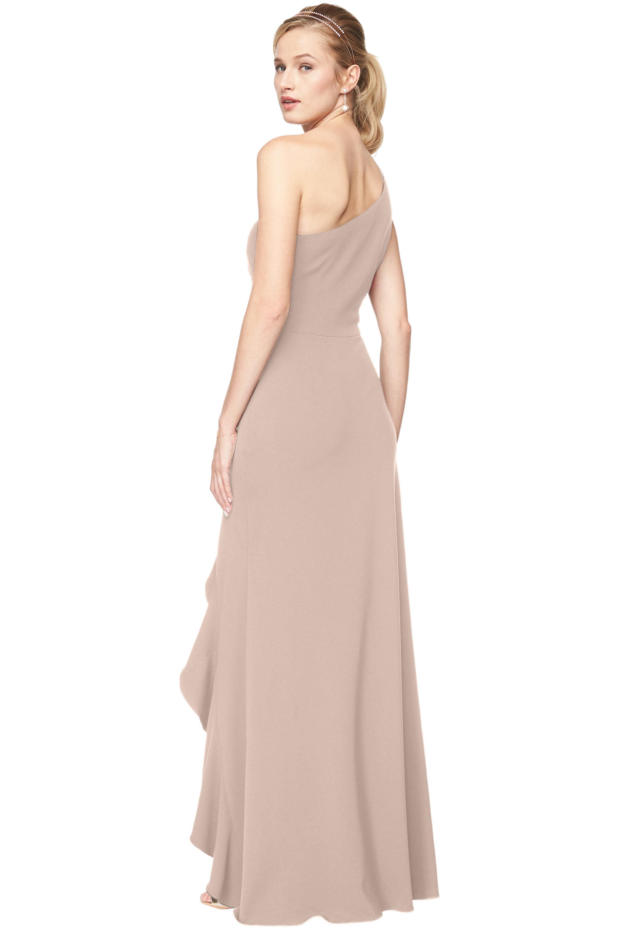 Bill Levkoff NUDE Stretch Crepe One-Shoulder A-Line gown, $240.00 Back