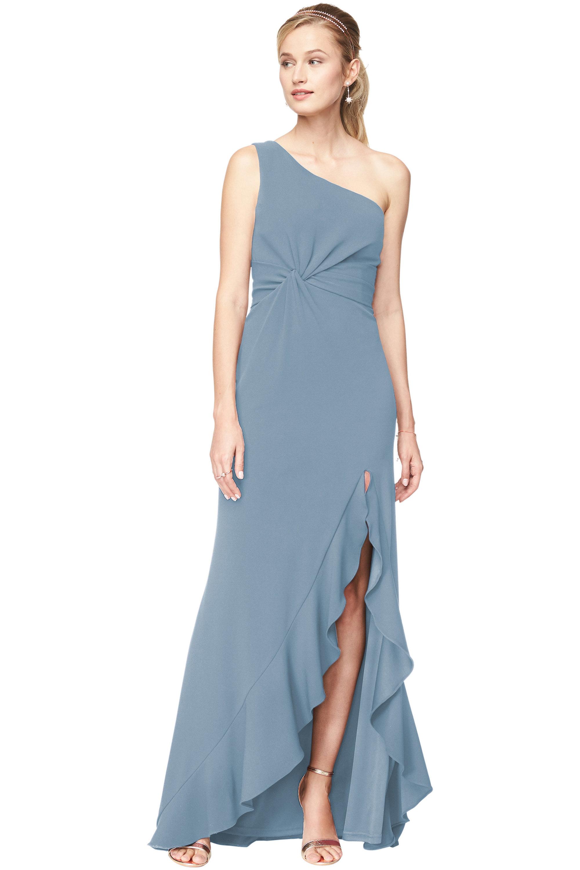 Bill Levkoff SLATE Stretch Crepe One Shoulder A-Line gown, $240.00 Front