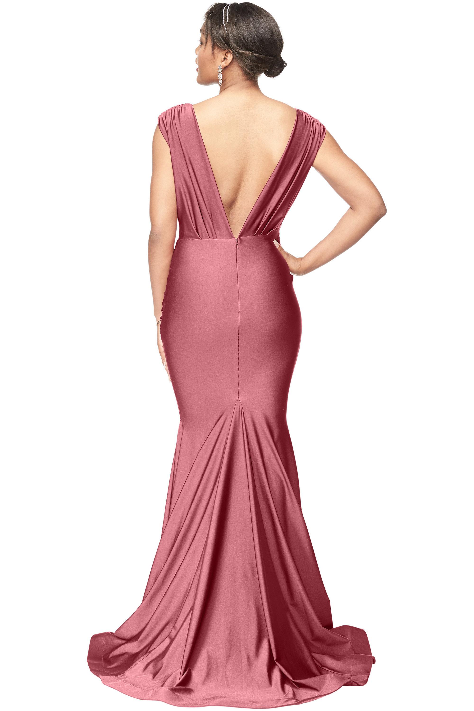 Bill Levkoff ASH ROSE Stretch Satin V-Neck Mermaid gown, $278.00 Back