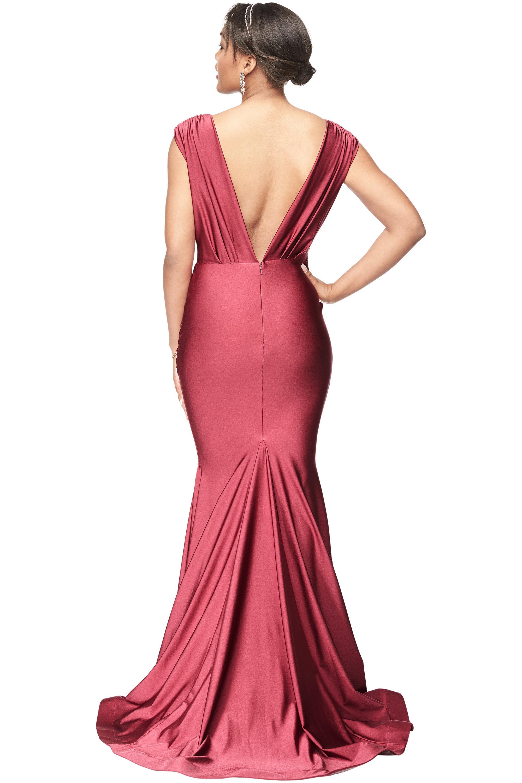 Bill Levkoff ROSEWOOD Stretch Satin V-Neck Mermaid gown, $278.00 Back