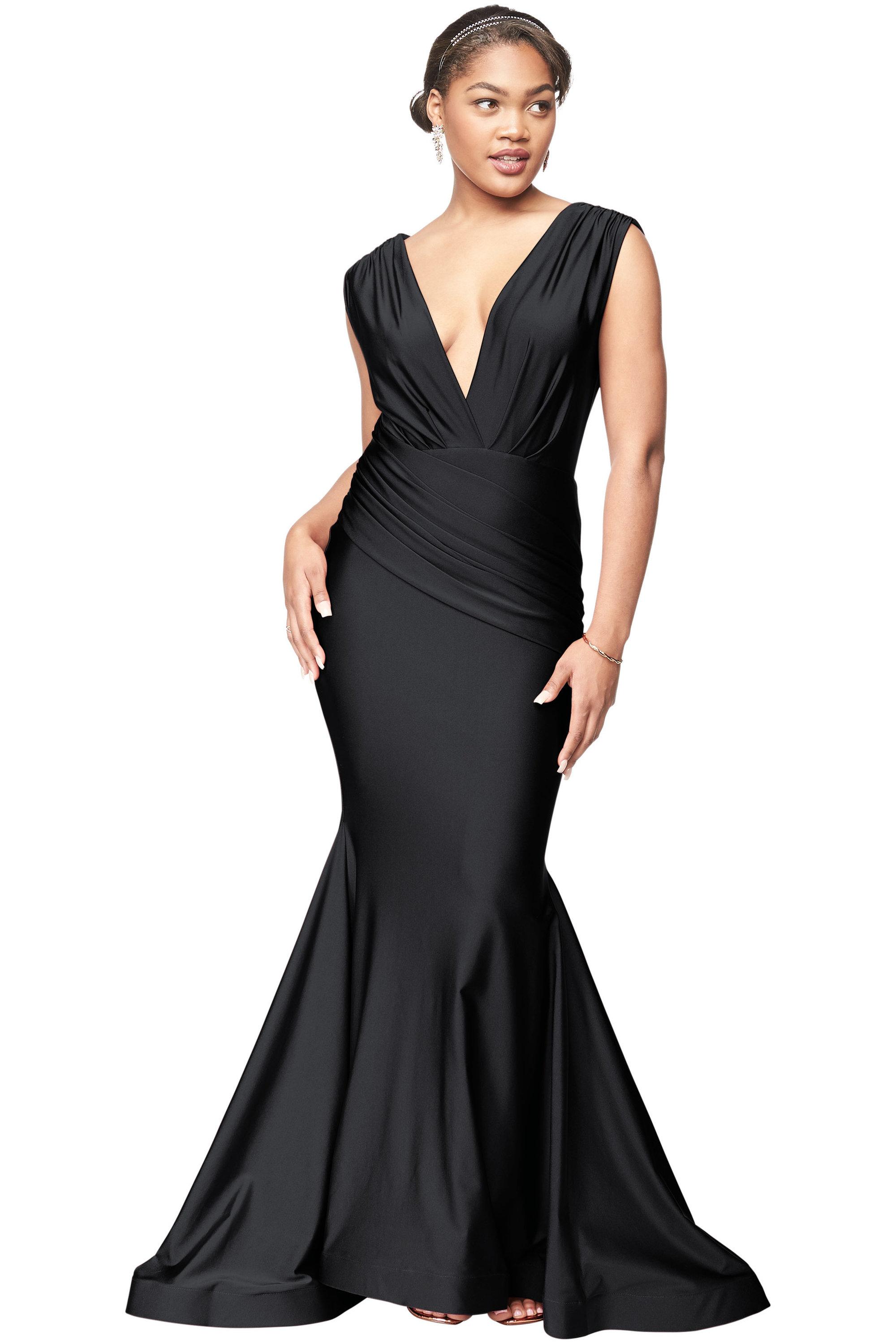 Bill Levkoff BLACK Stretch Satin V-Neck Mermaid gown, $278.00 Front