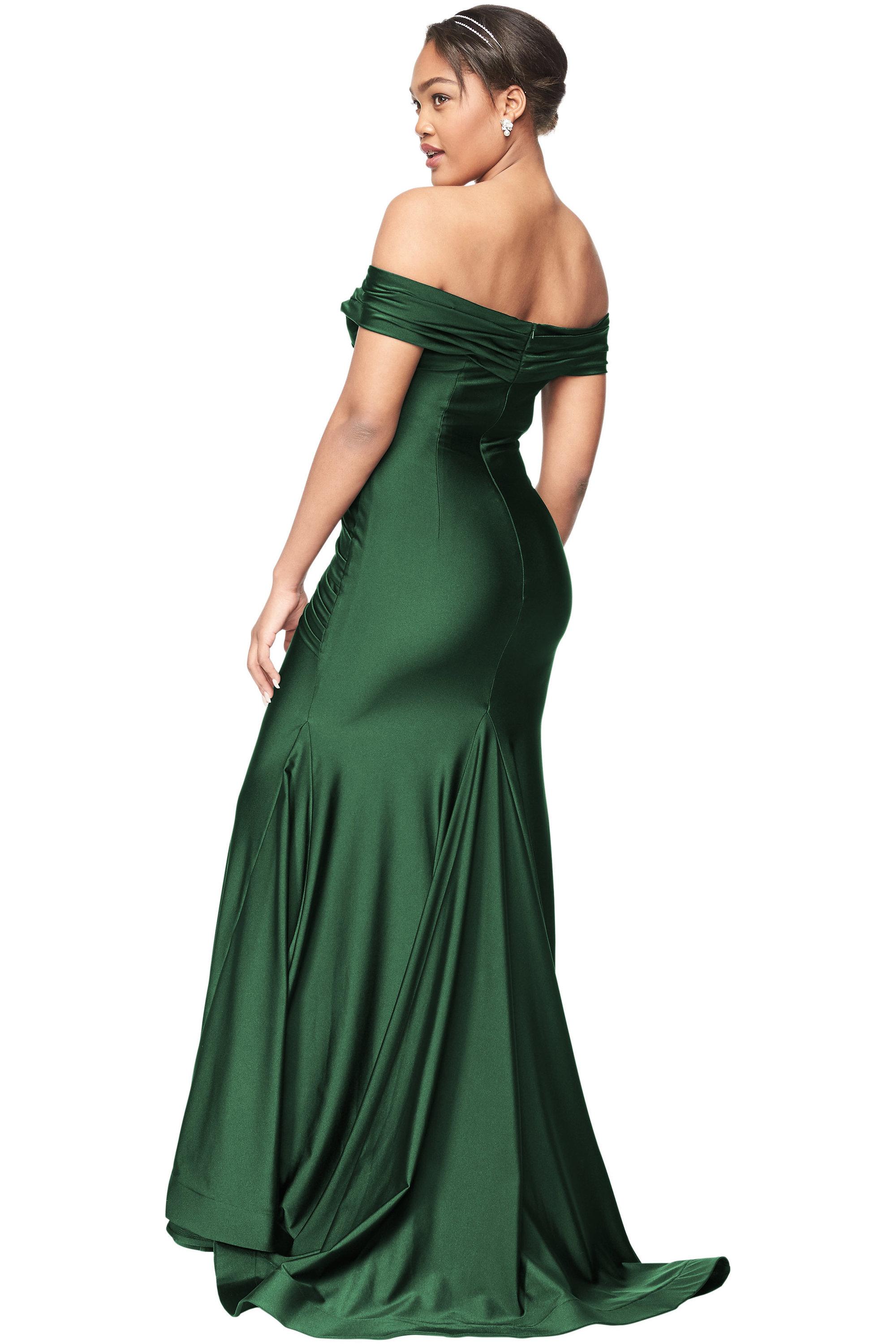 Bill Levkoff HUNTER Stretch Satin Off The Shoulder Mermaid gown, $280.00 Back