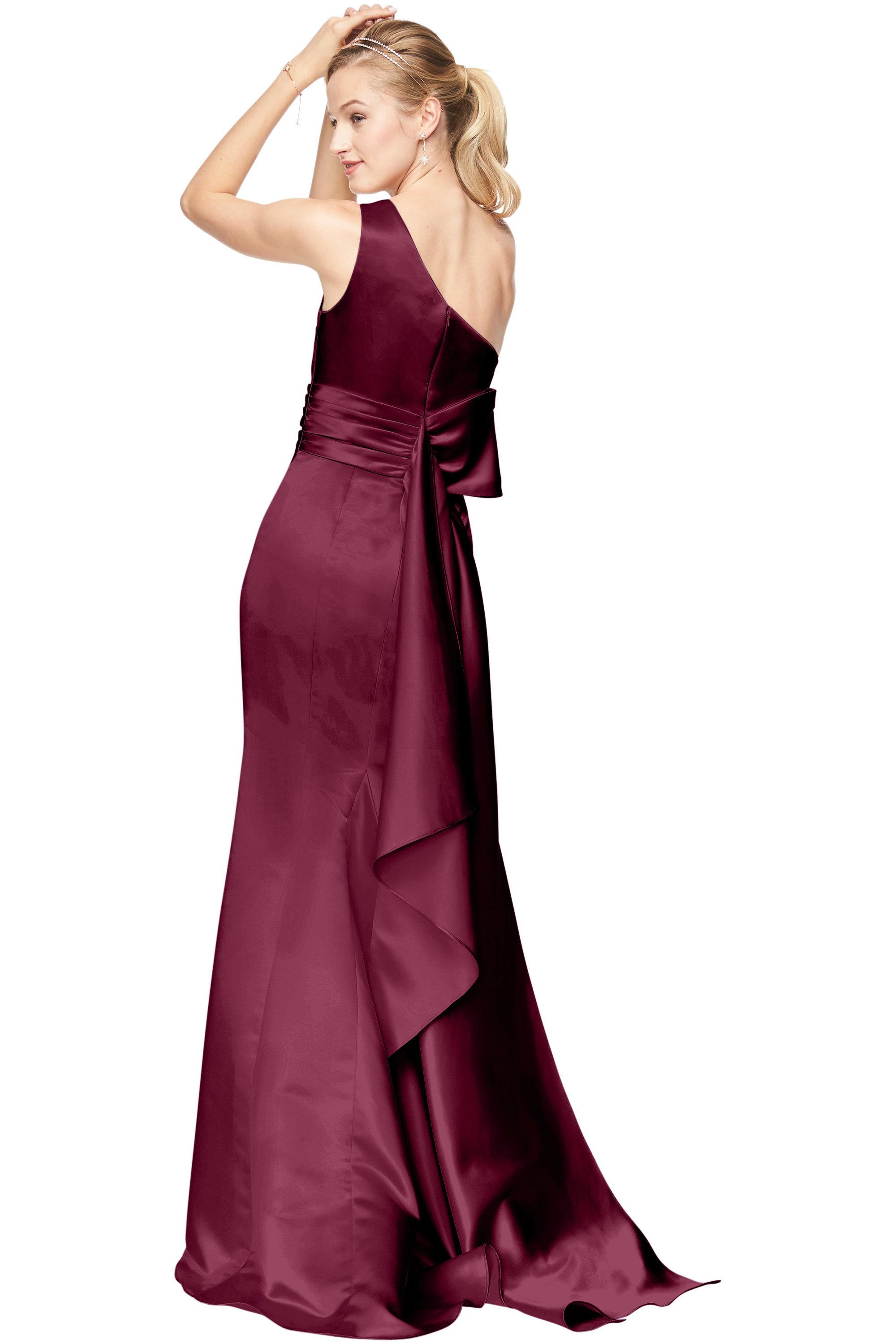 Bill Levkoff EURO WINE Euro Satin One-Shoulder A-Line gown, $178.50 Back