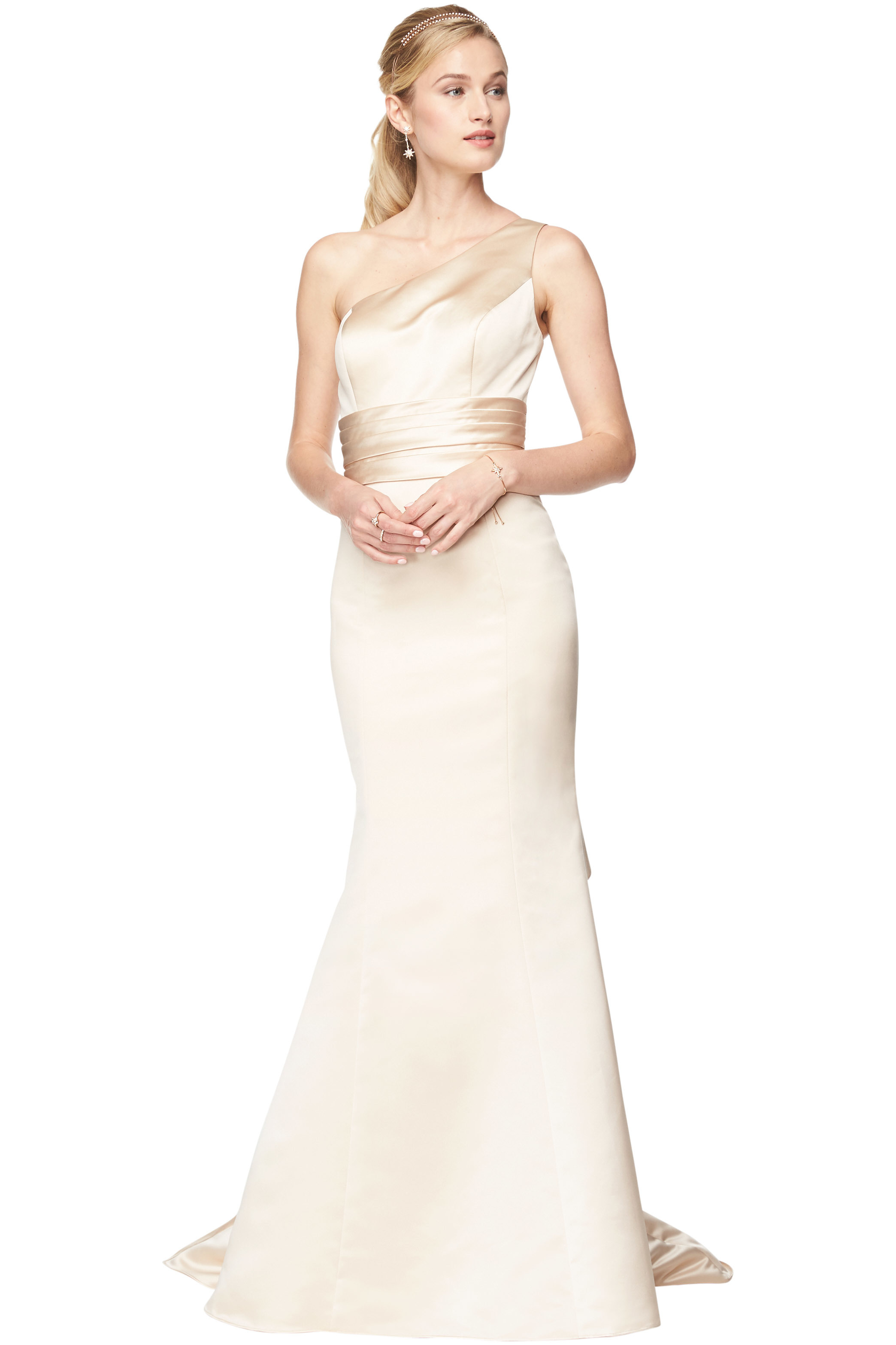 Bill Levkoff EURO CHAMPAGNE Euro Satin One Shoulder A-Line gown, $210.00 Front