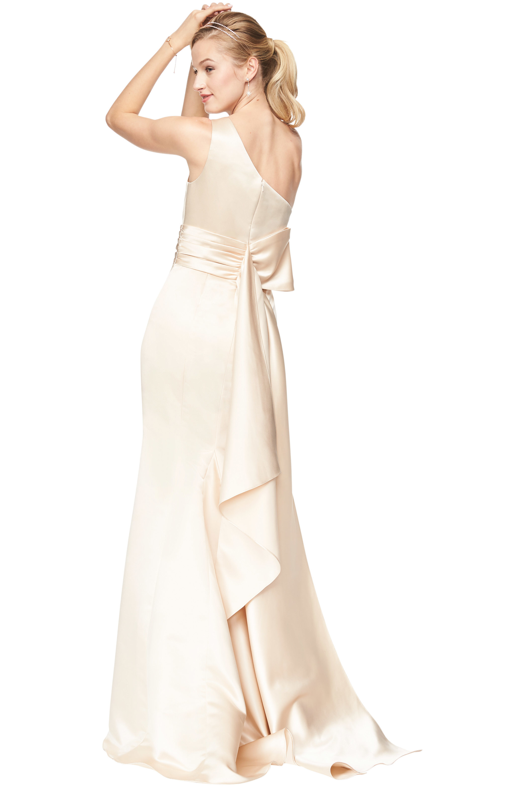 Bill Levkoff EURO CHAMPAGNE Euro Satin One Shoulder A-Line gown, $210.00 Back