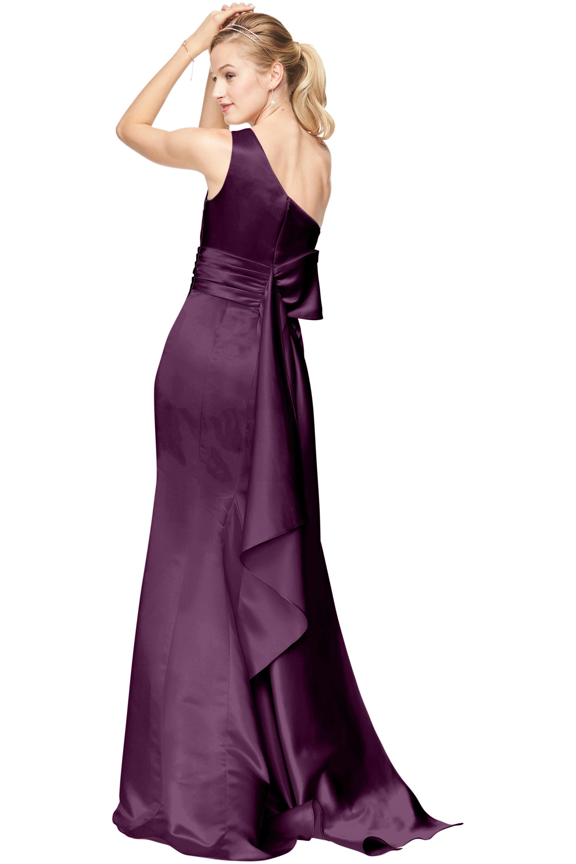 Bill Levkoff EURO EGGPLANT Euro Satin One-Shoulder A-Line gown, $210.00 Back
