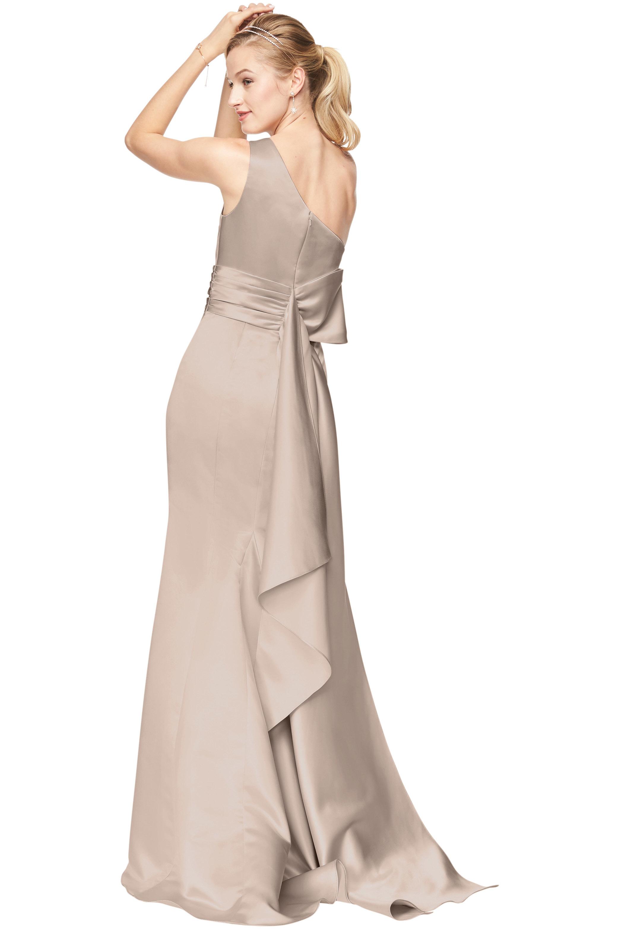 Bill Levkoff EURO CAMEL Euro Satin One Shoulder A-Line gown, $210.00 Back