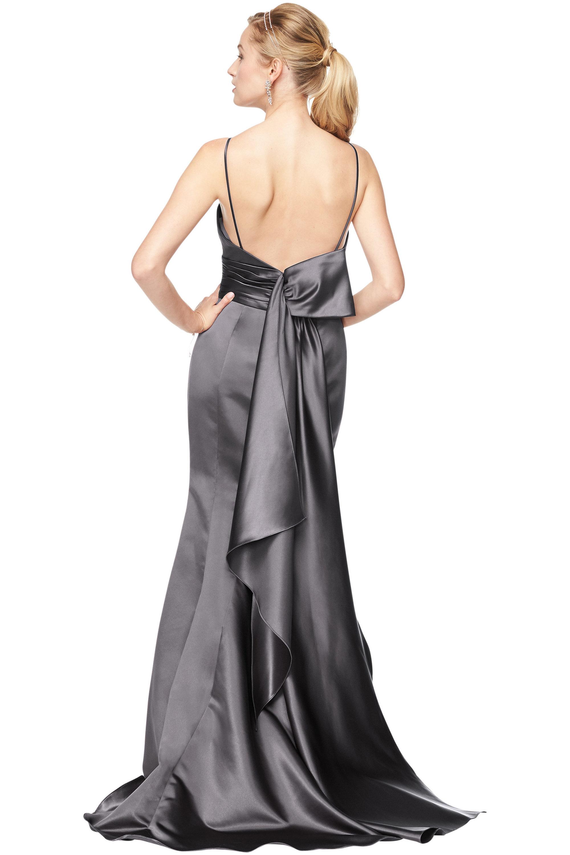 Bill Levkoff EURO PEWTER Euro Satin V-Neck A-Line gown, $178.50 Back