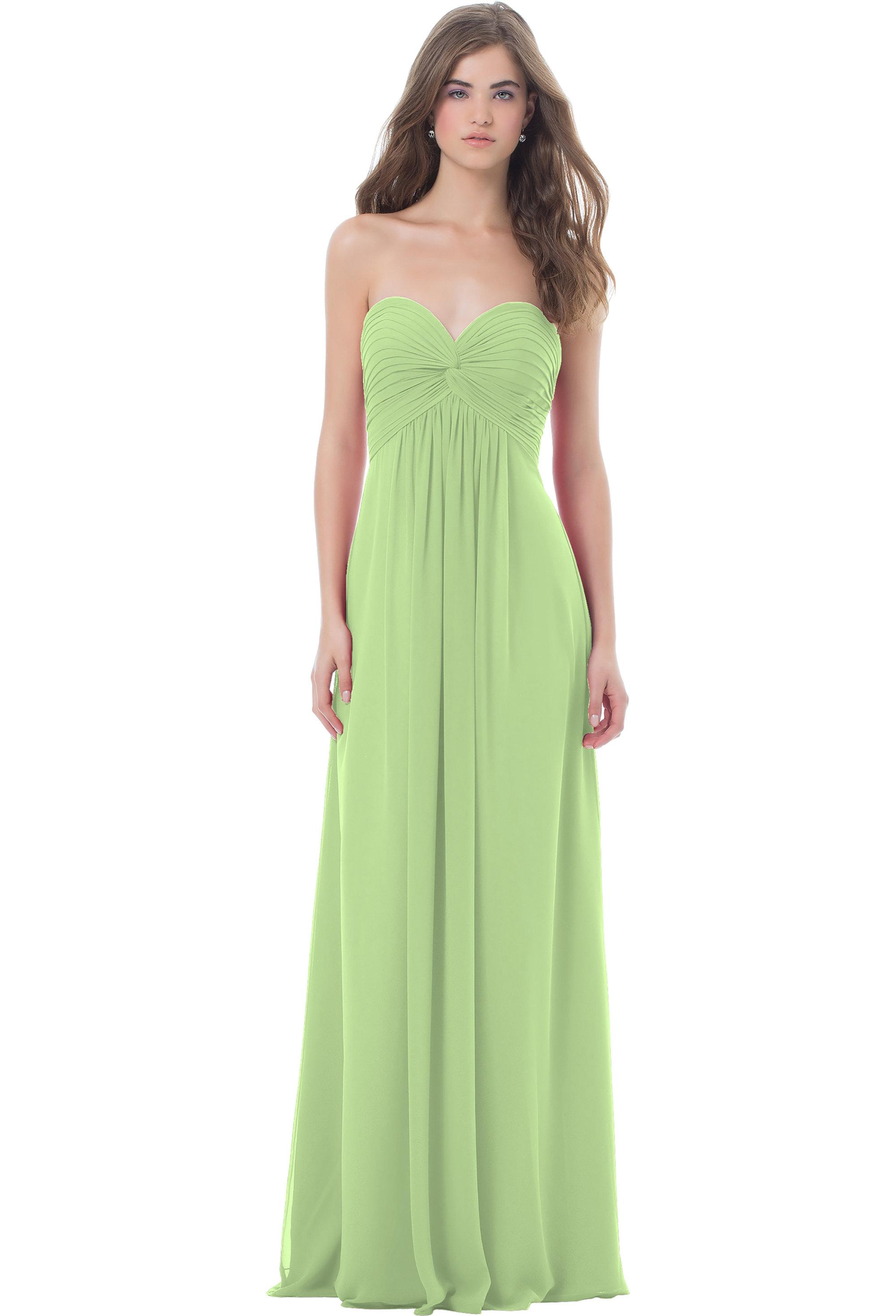 Bill Levkoff PISTACHIO Chiffon Sweetheart Floor Length gown, $224.00 Front