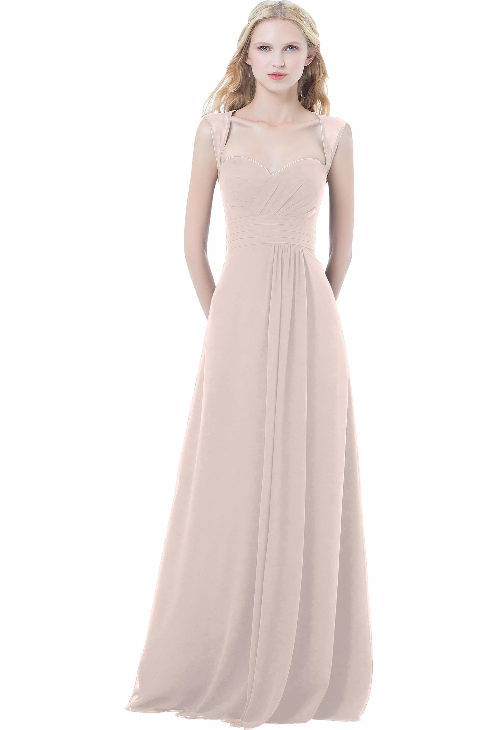 Bill Levkoff PETAL PINK Chiffon Sweetheart A-line gown, $220.00 Front