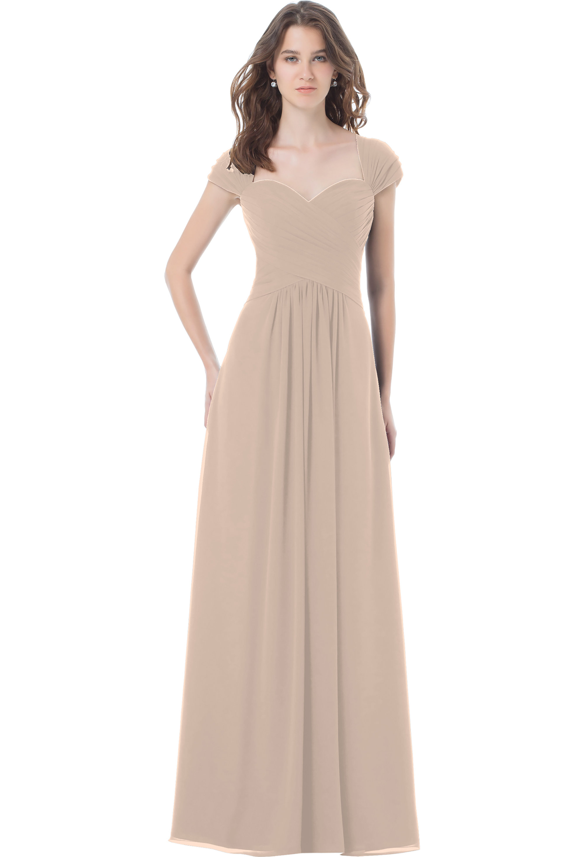 Bill Levkoff SHELL PINK Chiffon Sweetheart A-line gown, $230.00 Front