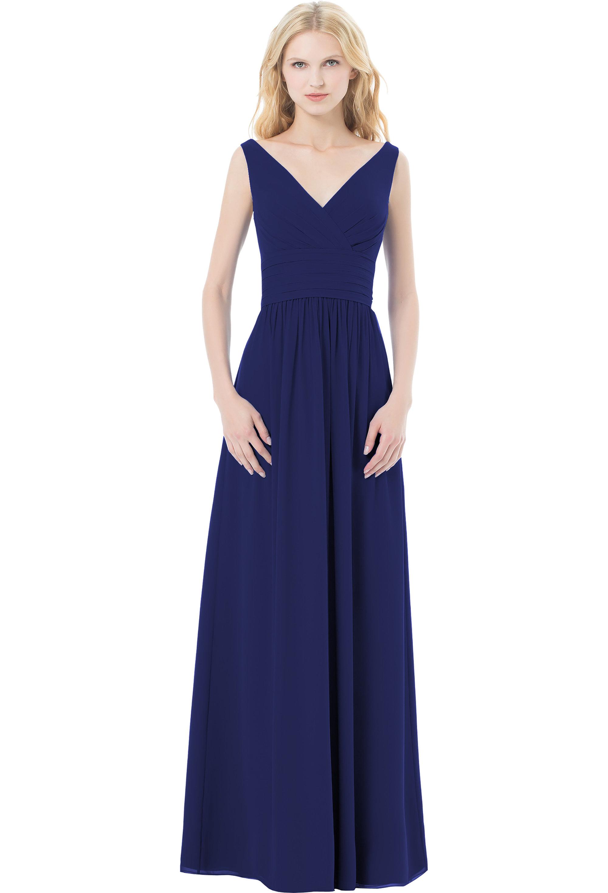 Bill Levkoff MARINE Chiffon Sleeveless A-line gown, $220.00 Front