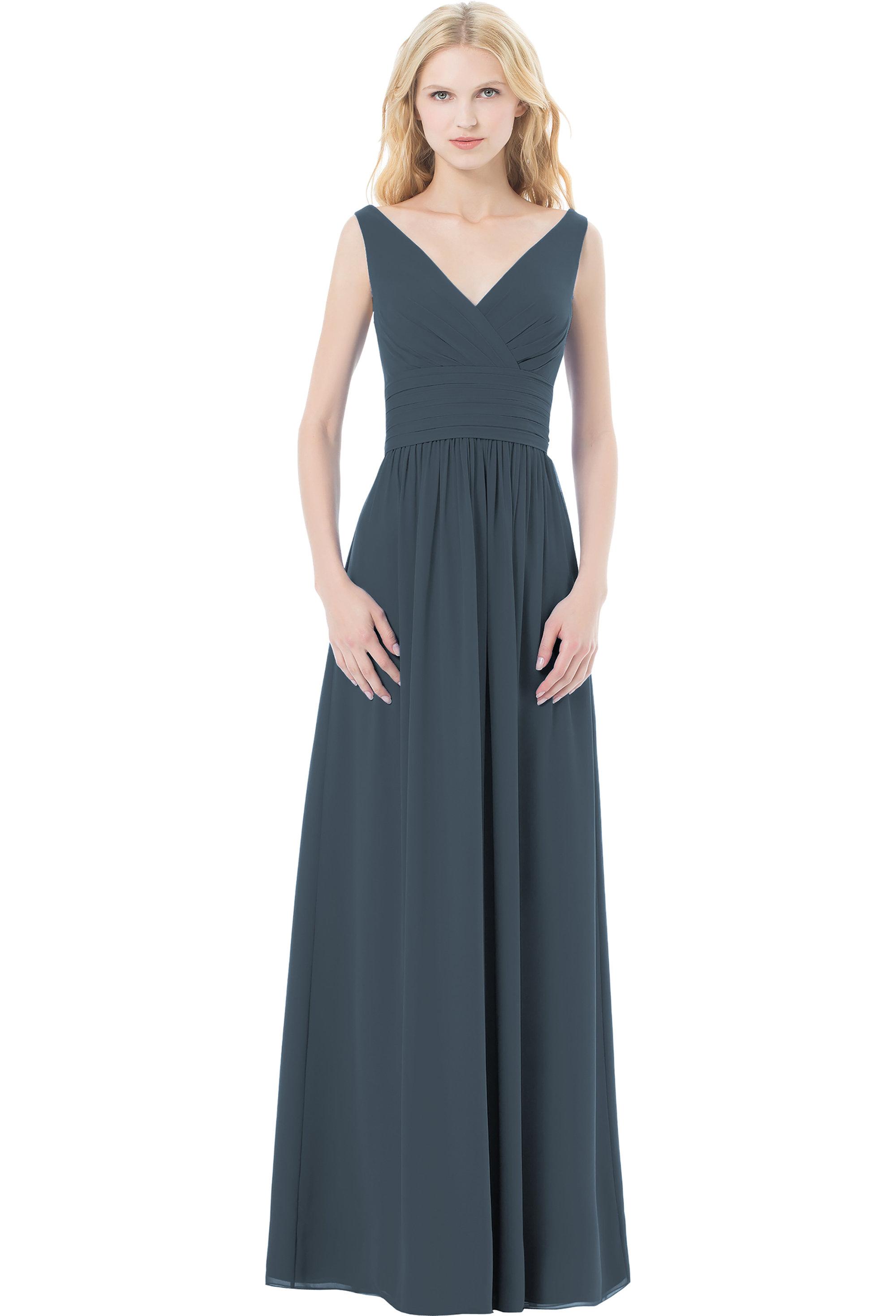 Bill Levkoff SLATE Chiffon Sleeveless A-line gown, $220.00 Front