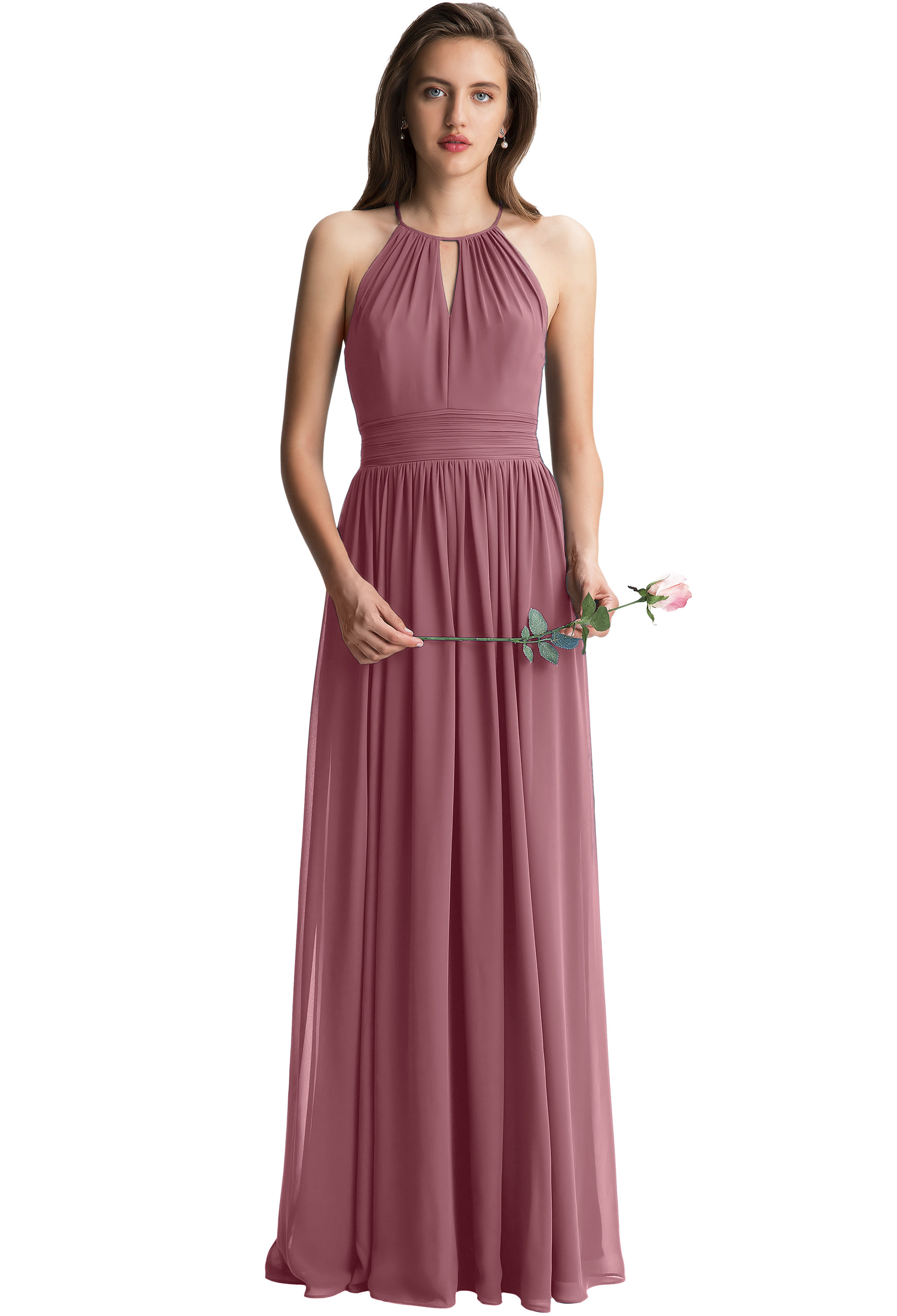 Bill Levkoff ROSEWOOD Chiffon Keyhole A-line gown, $150.00 Front