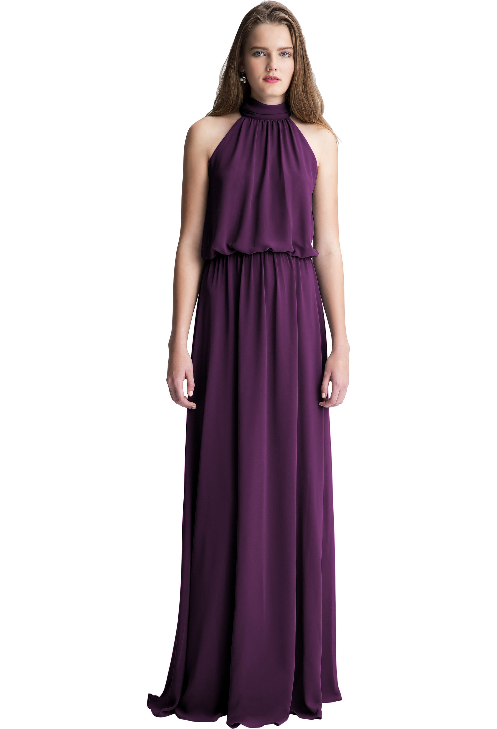 Bill Levkoff SANGRIA Chiffon Halter A-line gown, $150.00 Front
