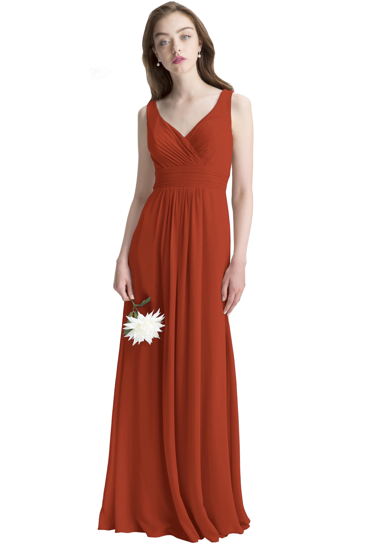 Bill Levkoff RUST Chiffon Surplice A-line gown, $150.00 Front