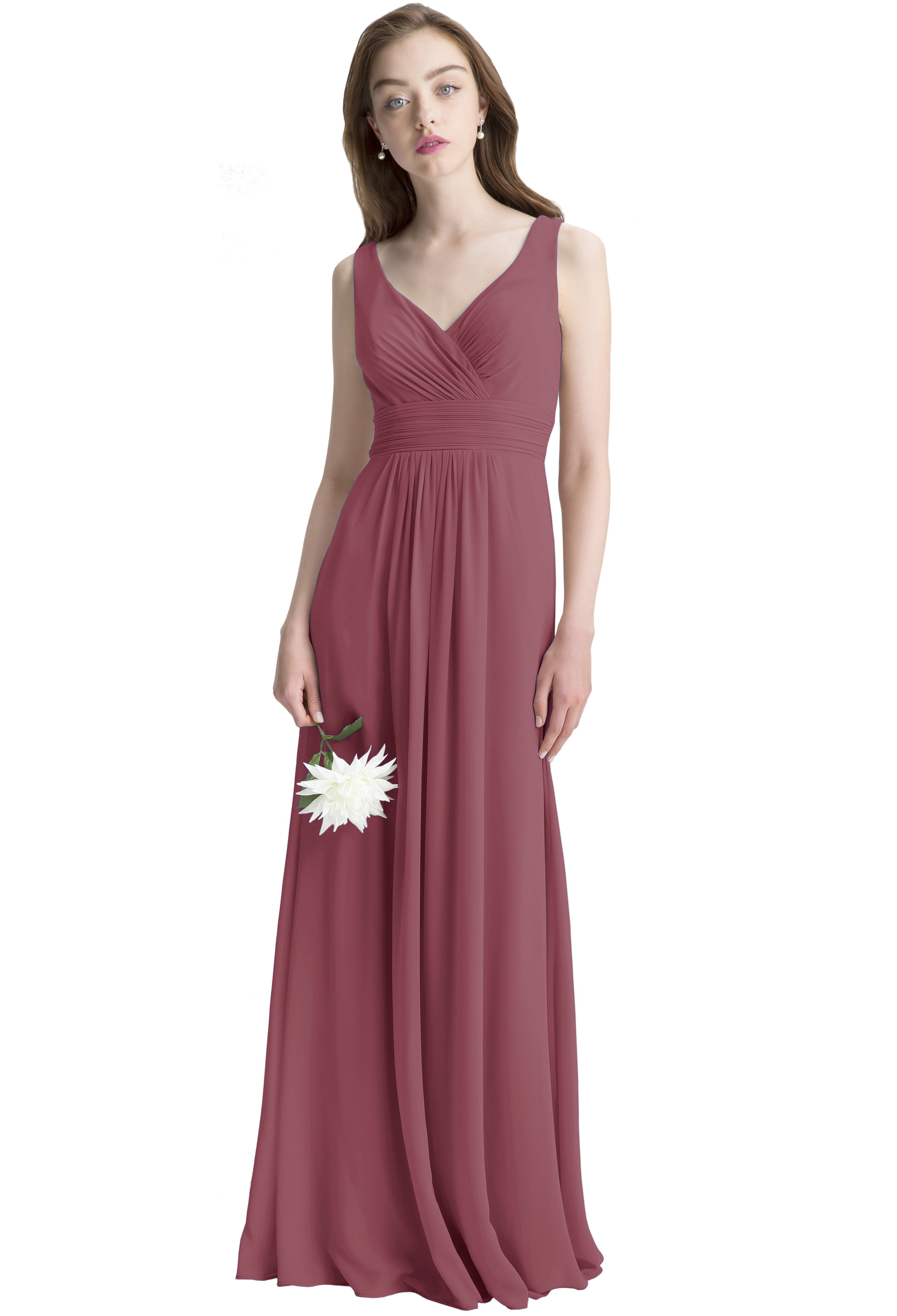 Bill Levkoff Rosewood Chiffon Surplice A-line gown, $150.00 Front