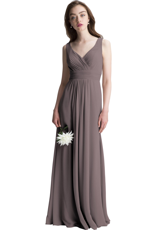 Bill Levkoff HEATHER Chiffon Surplice A-line gown, $150.00 Front