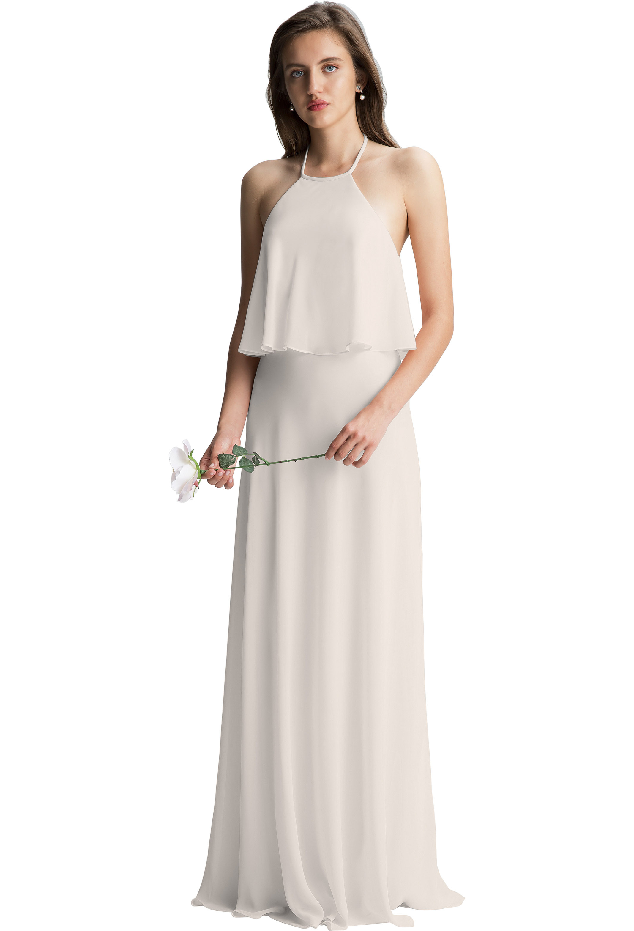 Bill Levkoff IVORY Chiffon Halter A-line gown, $150.00 Front