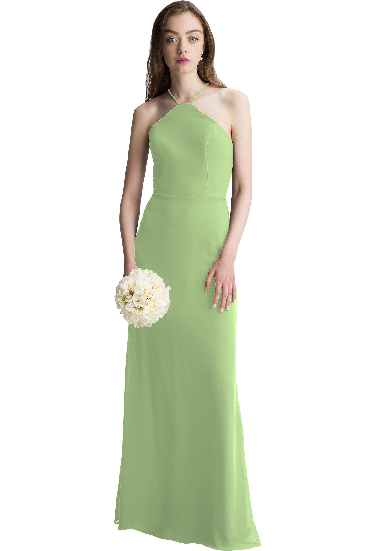 Bill Levkoff PISTACHIO Chiffon Halter A-line gown, $150.00 Front